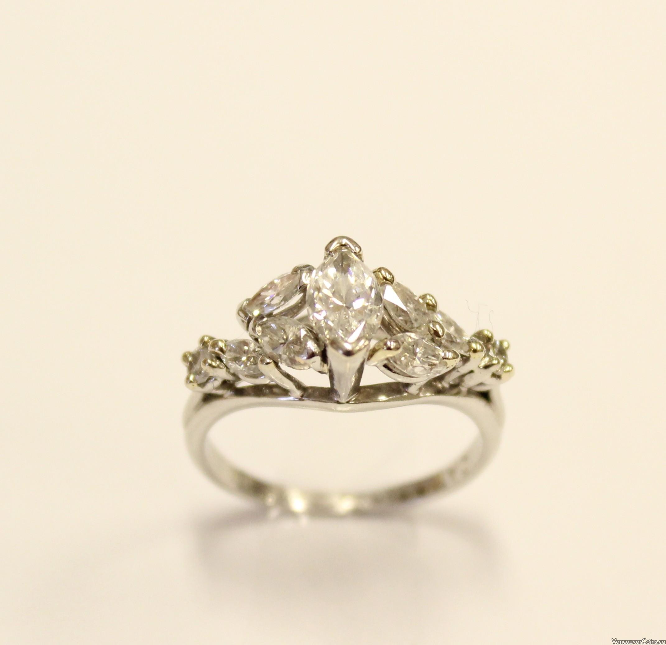 CAVELTI Platinum ring + 1.26ct tcw Marquis Diamonds VVS/VS G/H