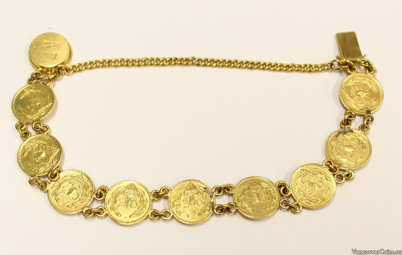 10x 1849 One Dollar Gold tokens Bracelet 22K chains & mounts
