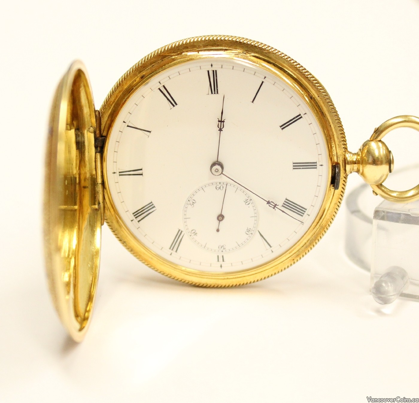 C 1890 Breitling Laederich 18K Gold KW KS Hunter pocket watch