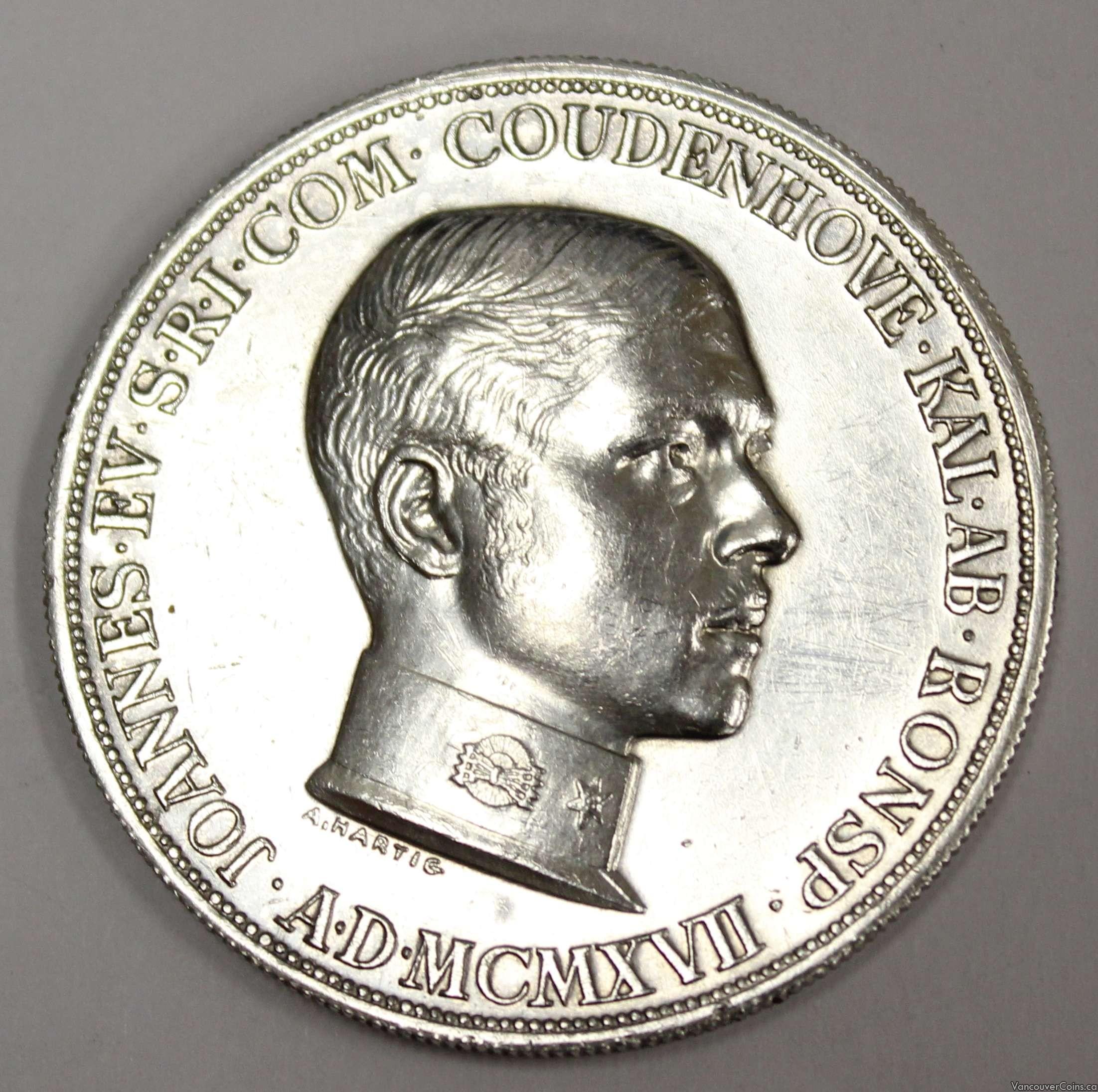 1917 Coudenhove-Kalergi .935 silver Medal