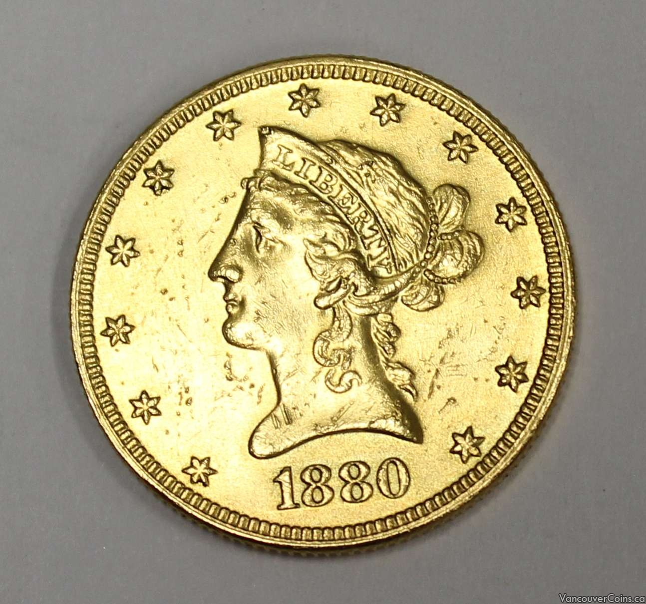 1880 S Liberty $10 Gold Eagle MS63 details