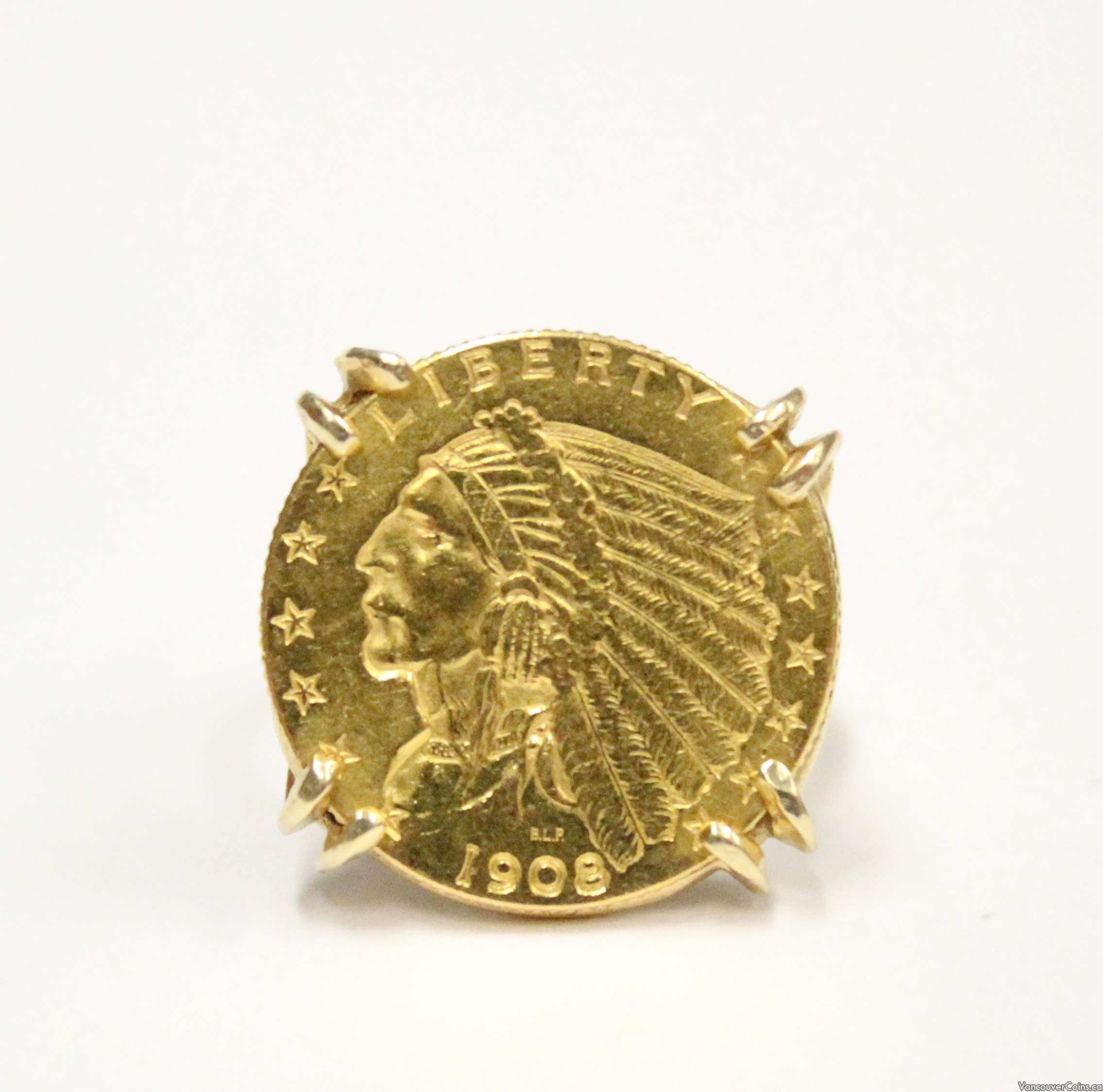 $2.50 1/4 Eagle gold coin on 14K ladies ring USA 1908 AU50