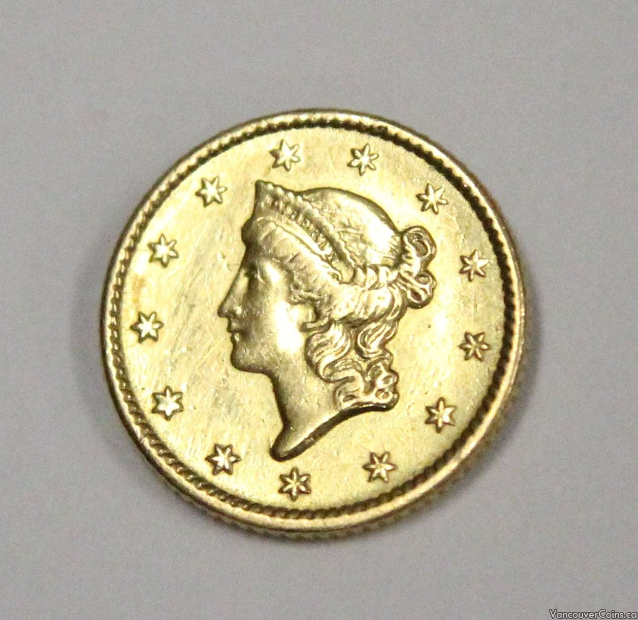1852 USA $1 Gold Indian  VF