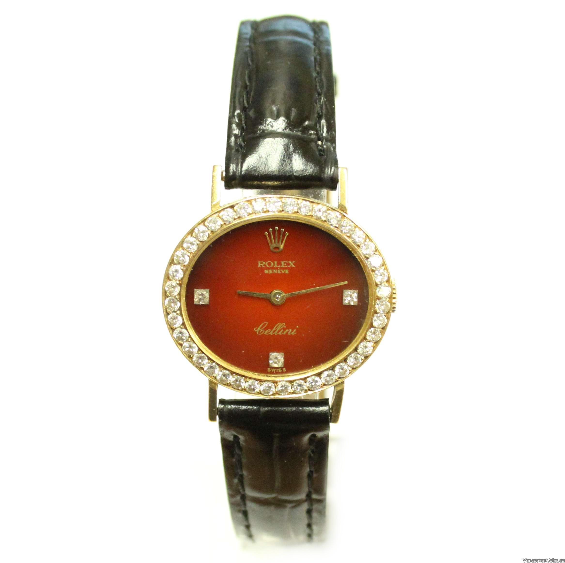 1981 Rolex Cellini 4081 18k gold diamond bezel & burgundy dial