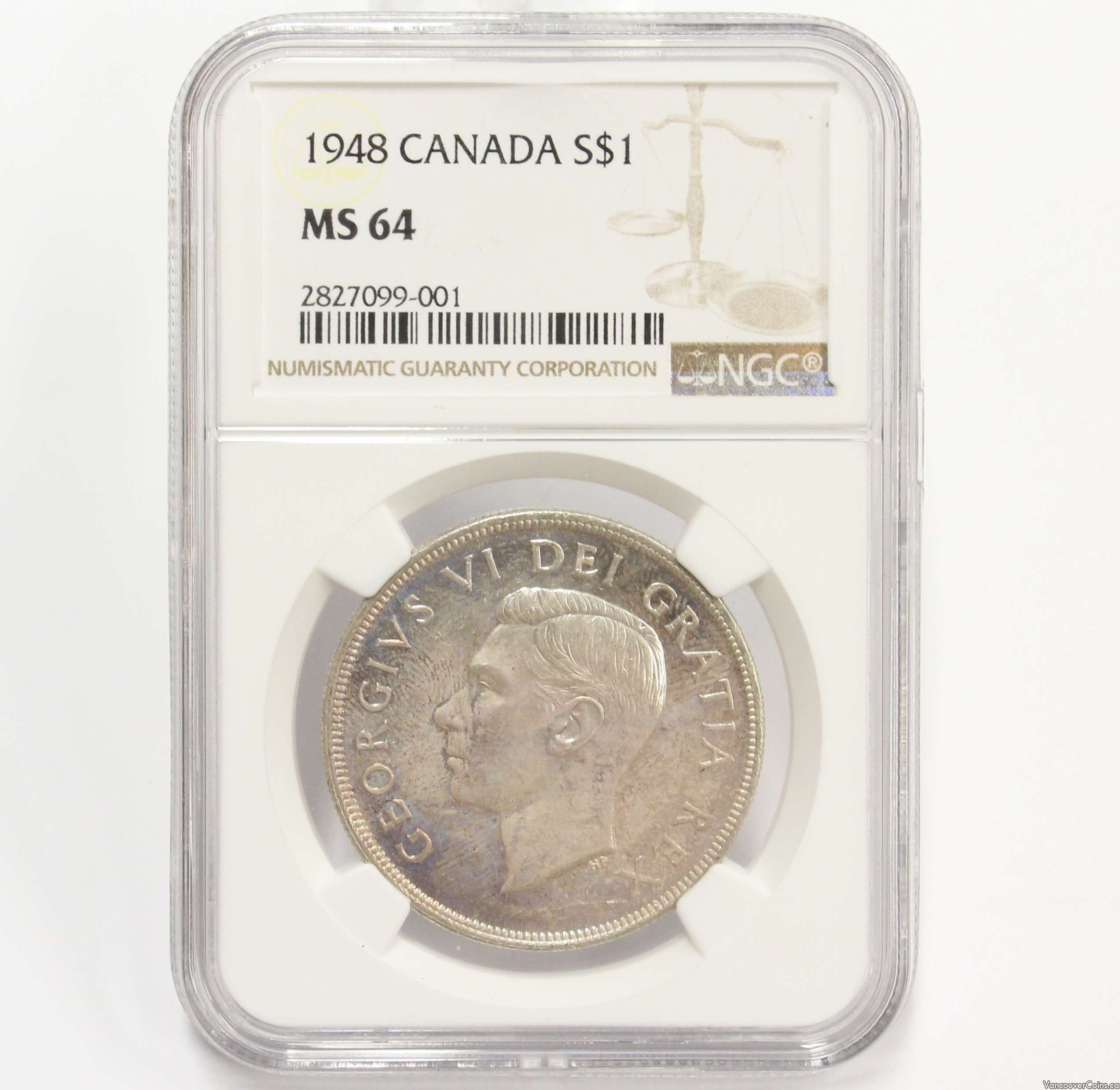 1948 Canada silver dollar NGC MS64