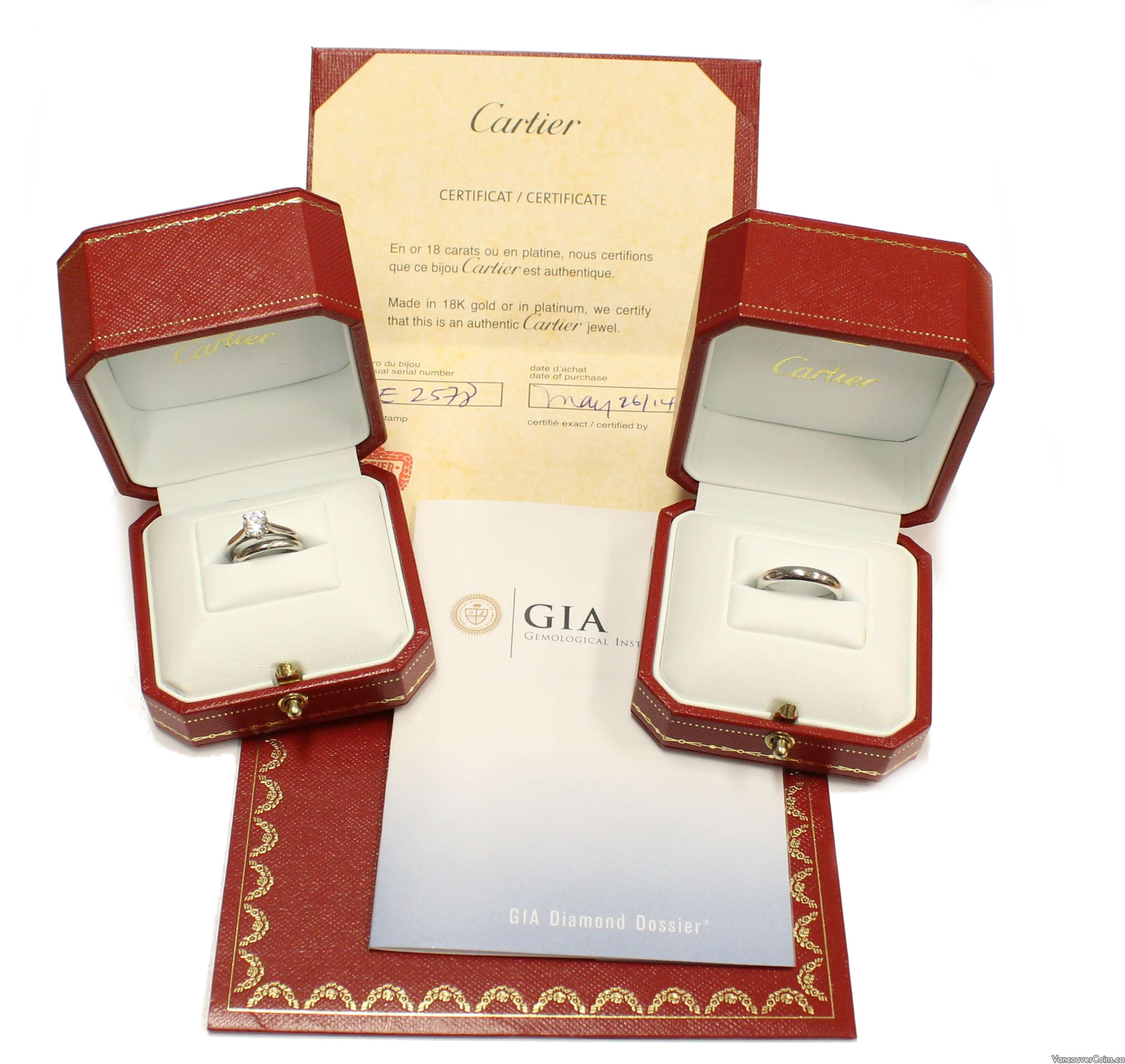 Cartier 950 platinum GIA cert 0.73ct H VVS1 diamond solitaire & Wedding bands