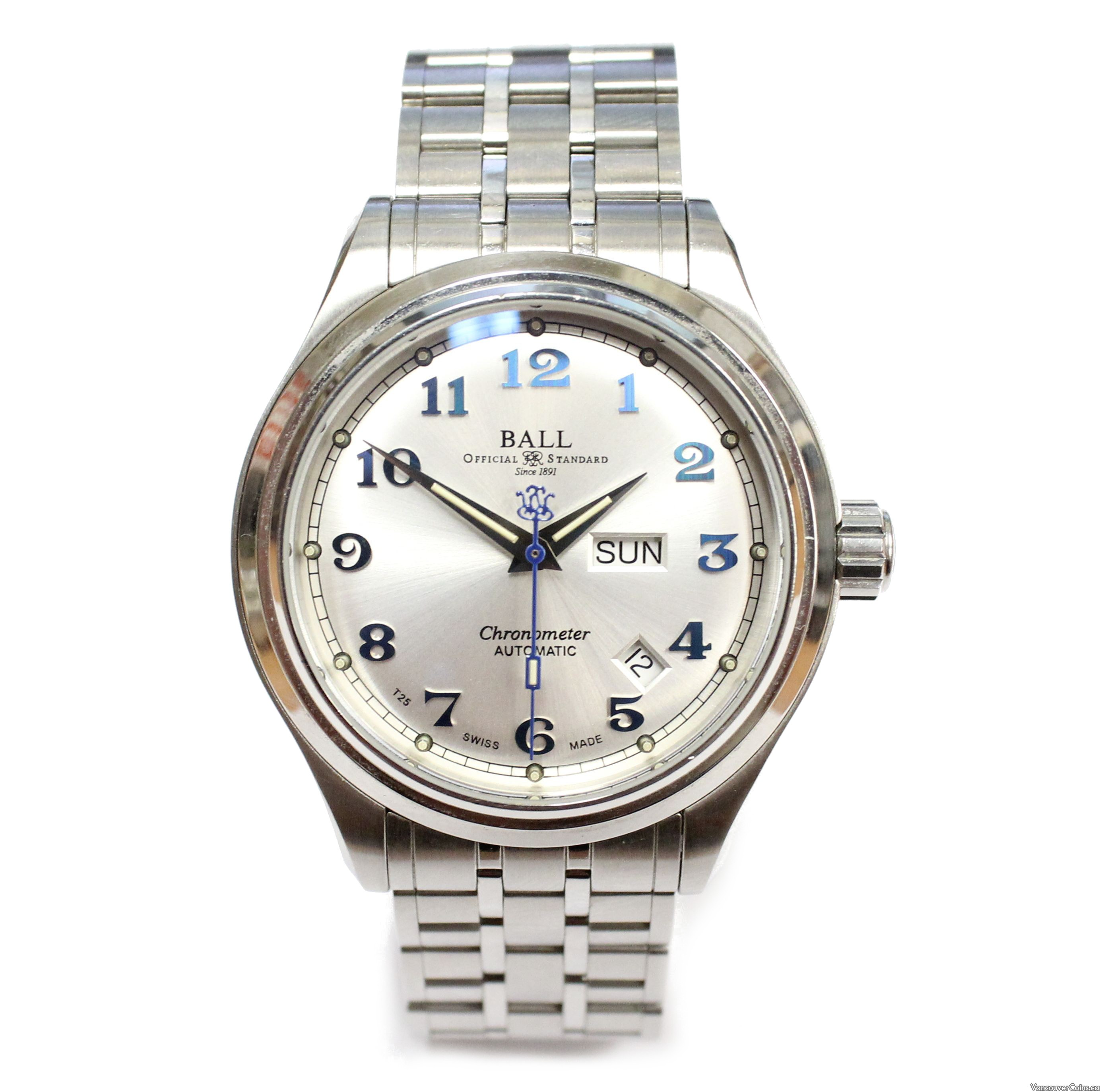 Ball Trainmaster Chronometer Watch NM1058D day/date w/boxes & Swiss cert