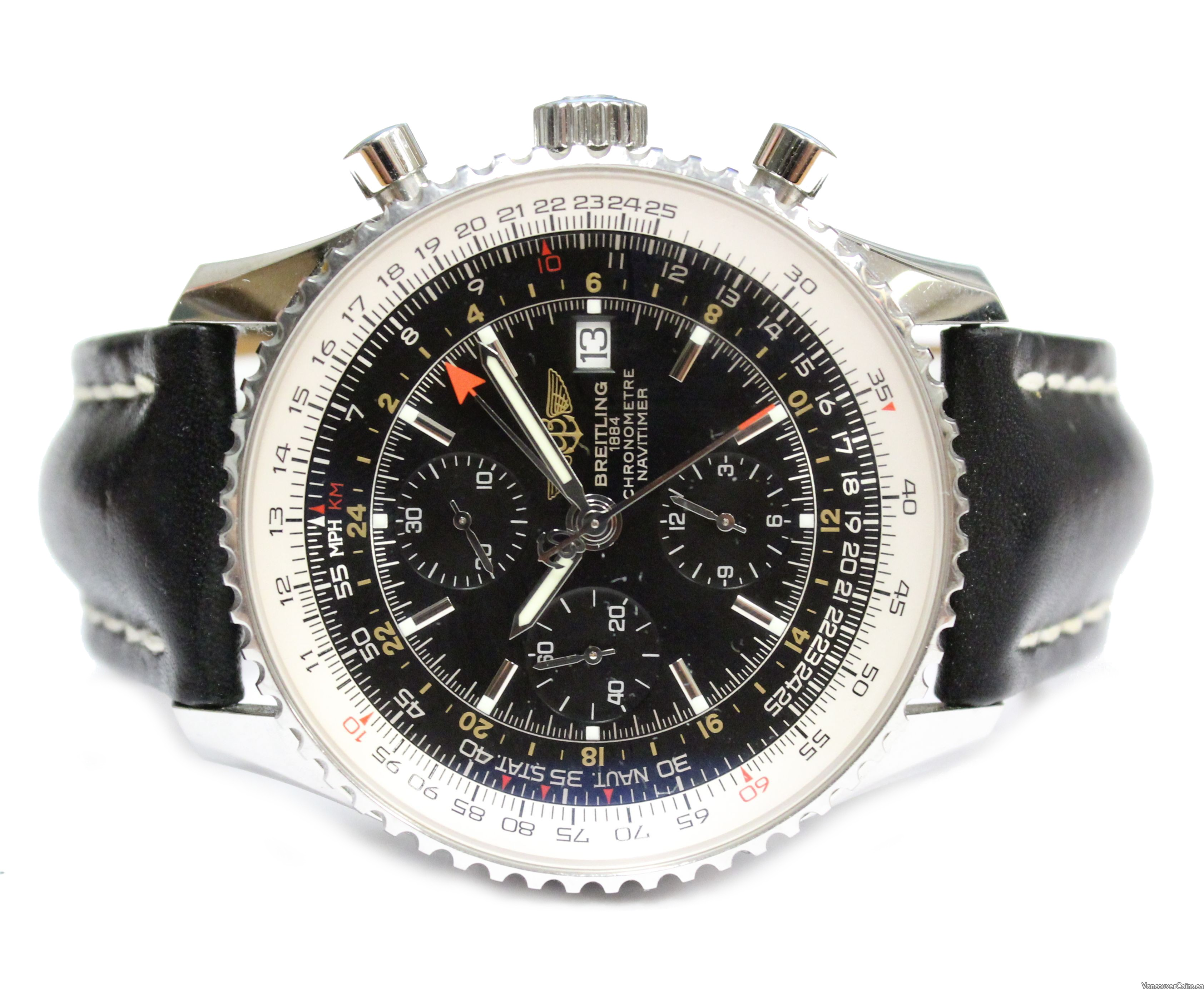 Breitling Navitimer A24322 GMT watch original black leather strap