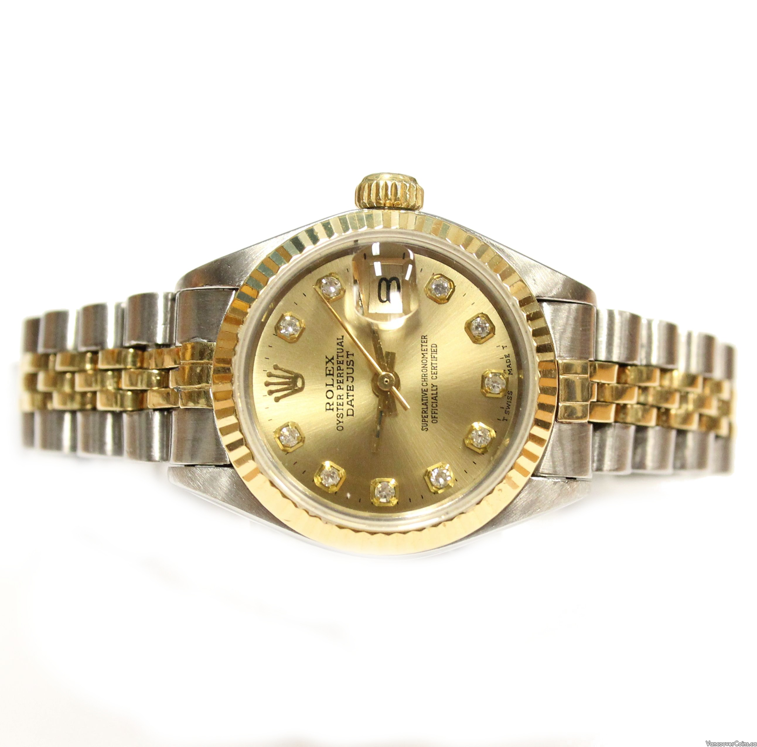 Lady Rolex Datejust 6917 Oyster Perpetual 14K gold SS diamond champagne dial