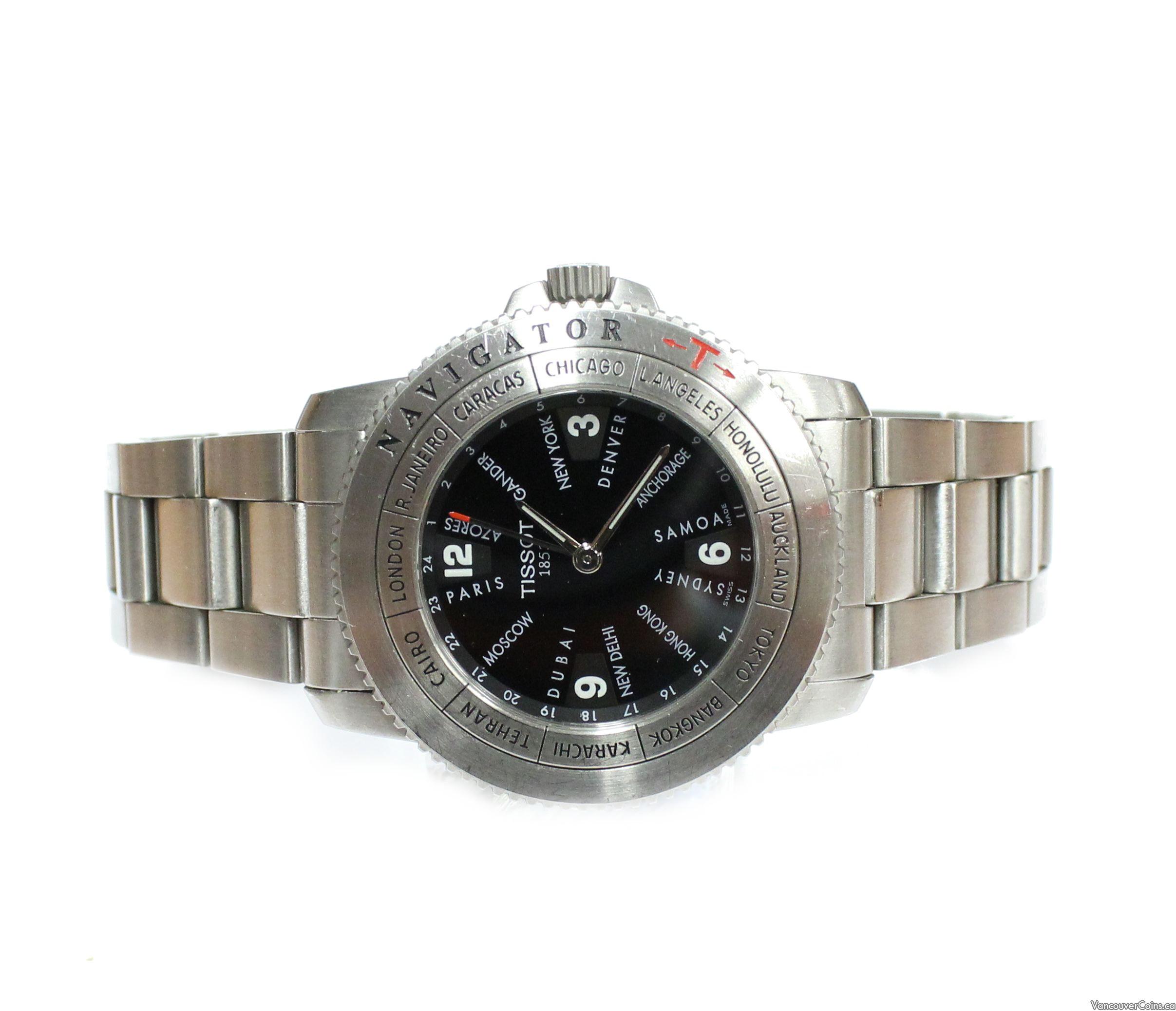 TISSOT GMT Navigator -T- World Time SS black dial watch