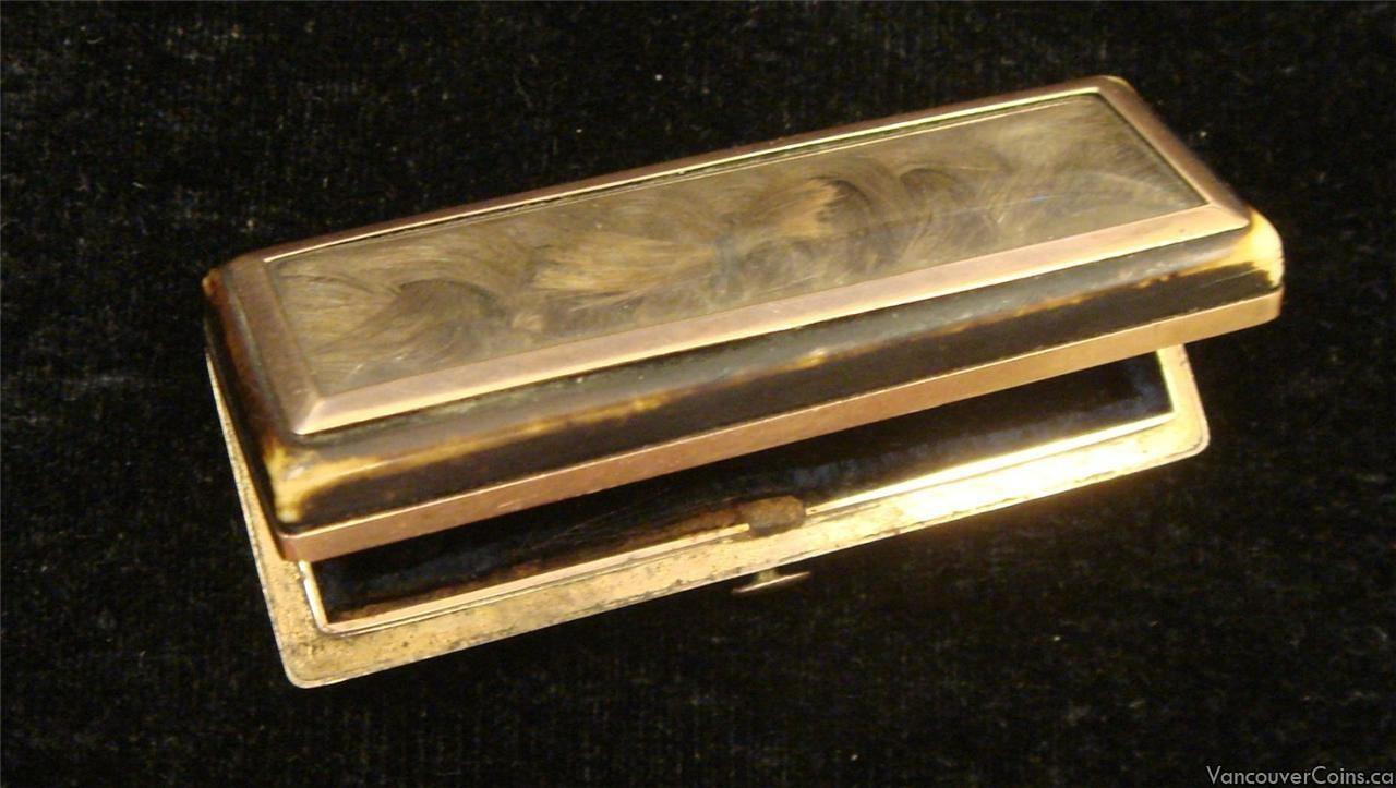 18th Century Georgian 9k Gold & Bone Mourning Box
