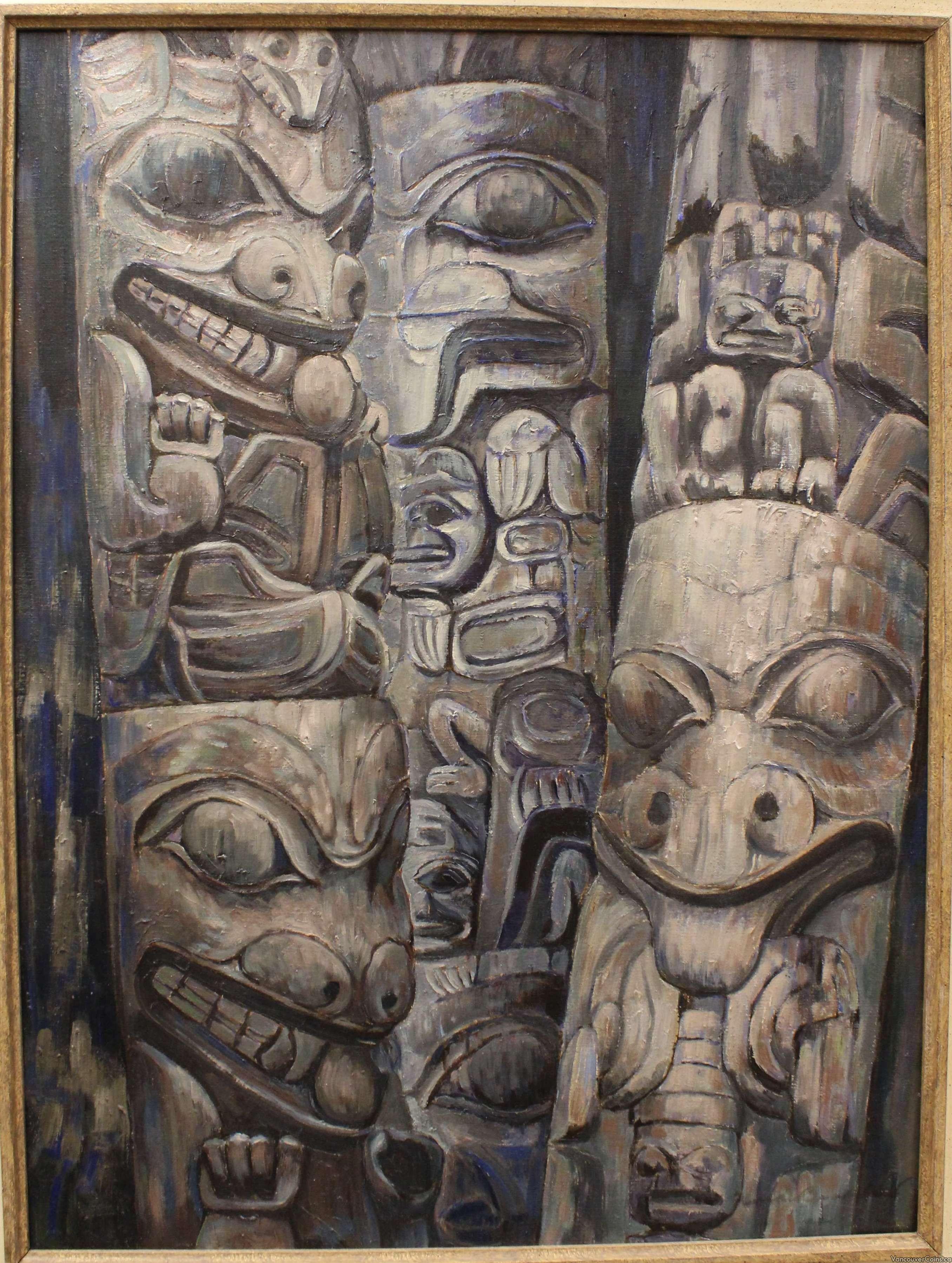 Important 1954 Nell Mary Bradshaw painting Three Haida Poles