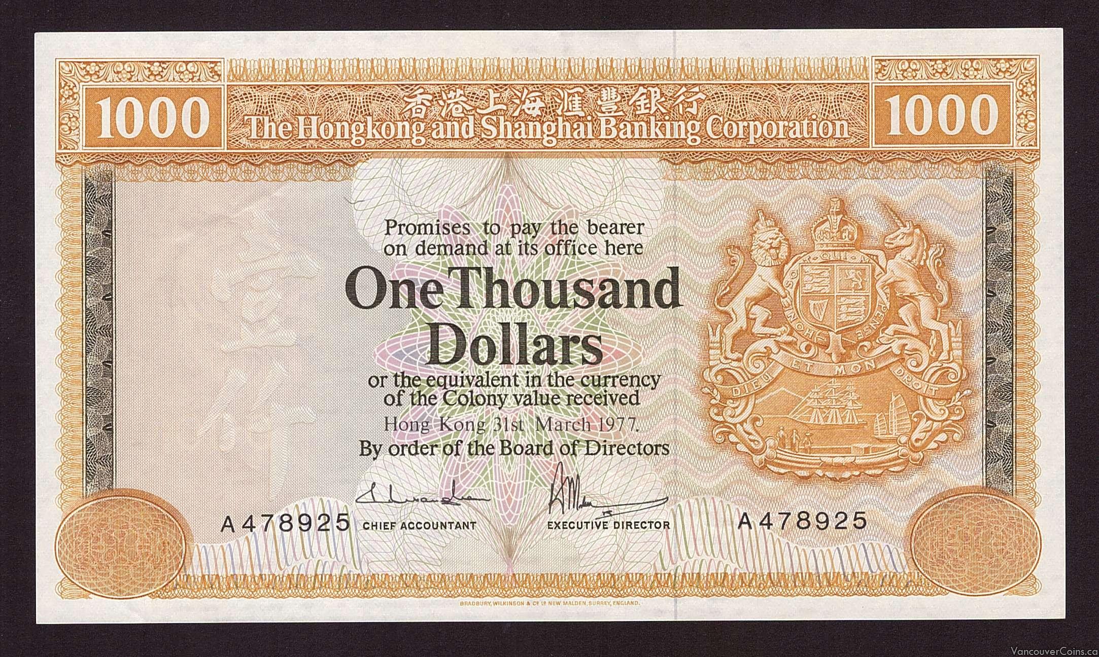 1977 Hong Kong $1000 Chartered Bank