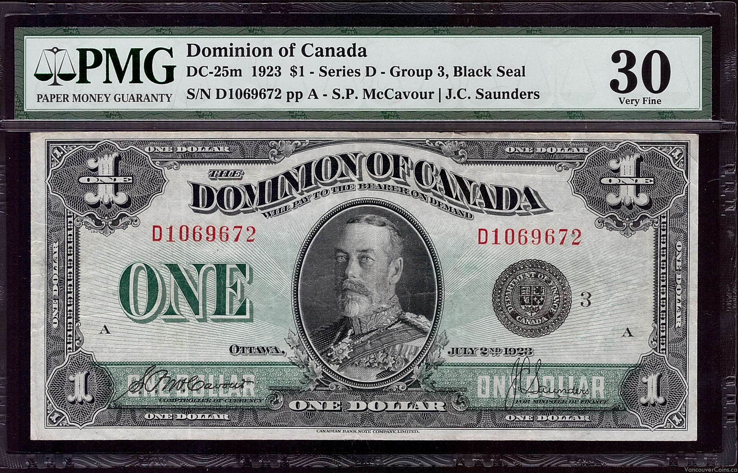 1923 Dominion of Canada $1.00  PMG VF30