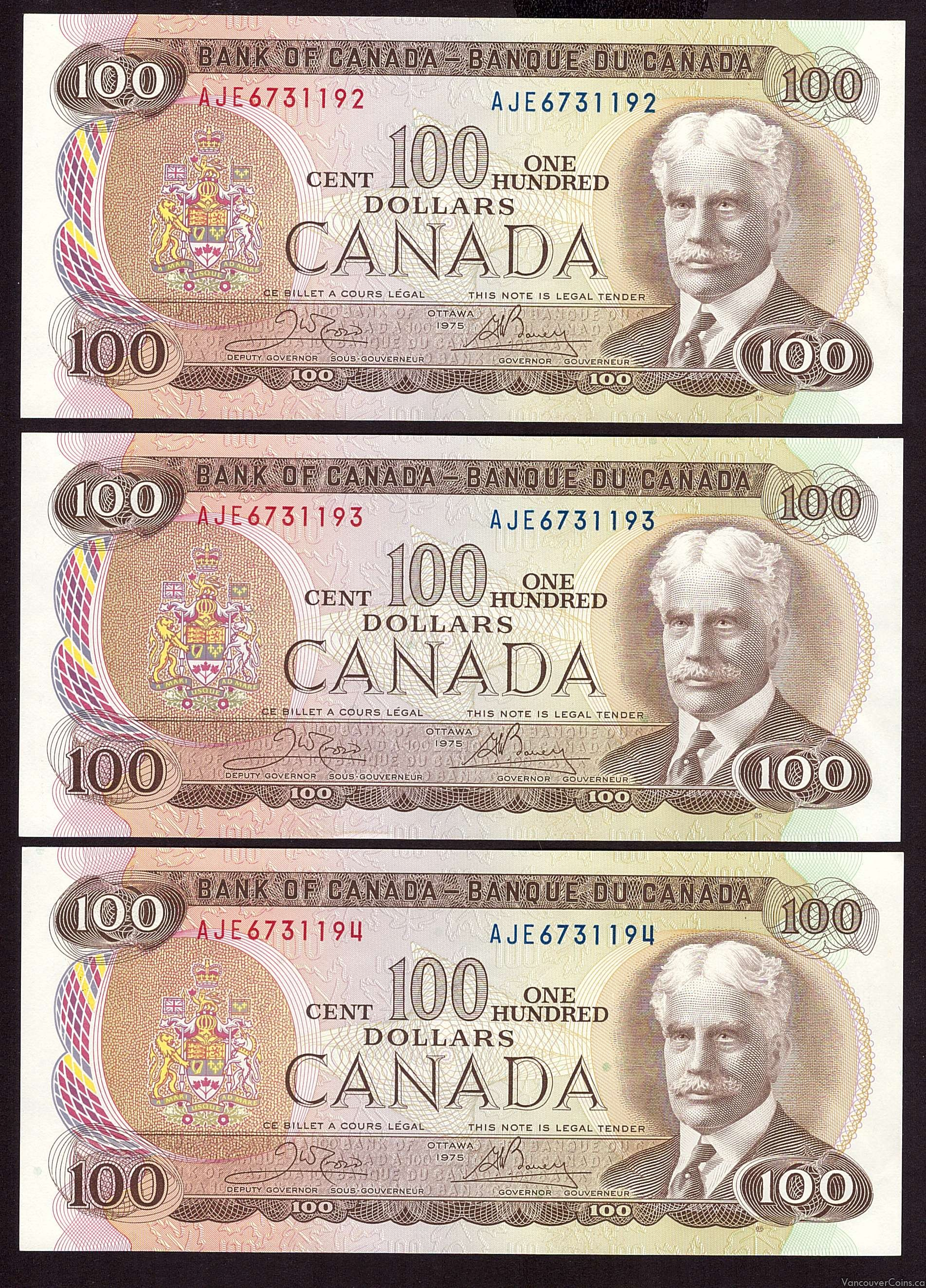 3X 1975 Canada $100 Hundred Dollar consecutive notes  AU58+