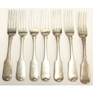 1815 Dublin Ireland 7x Sterling Silver Forks MATHEW WEST