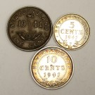 Newfoundland 1941C One Cent VF  1941C 5 Cents AU50+  and 1941 10 Cents VF