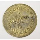 c1938 Shaunavon Sask $5.00 merchant token Stevenson Bros