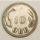 1884 H Denmark 10 Ore •