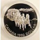 1992 Canada Stage Coach Proof Silver $1 Dollar RCM