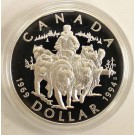 1994 Canada RCMP Dog Sled Proof Silver Dollar