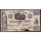 1842 $50 CITY OF NEW ORLEANS No 1 bond