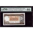 Australia 10 shillings banknote 1961-65 PMG Choice UNC64 EPQ