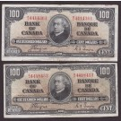 1937 Bank of Canada $100 error oversize note & regular size note