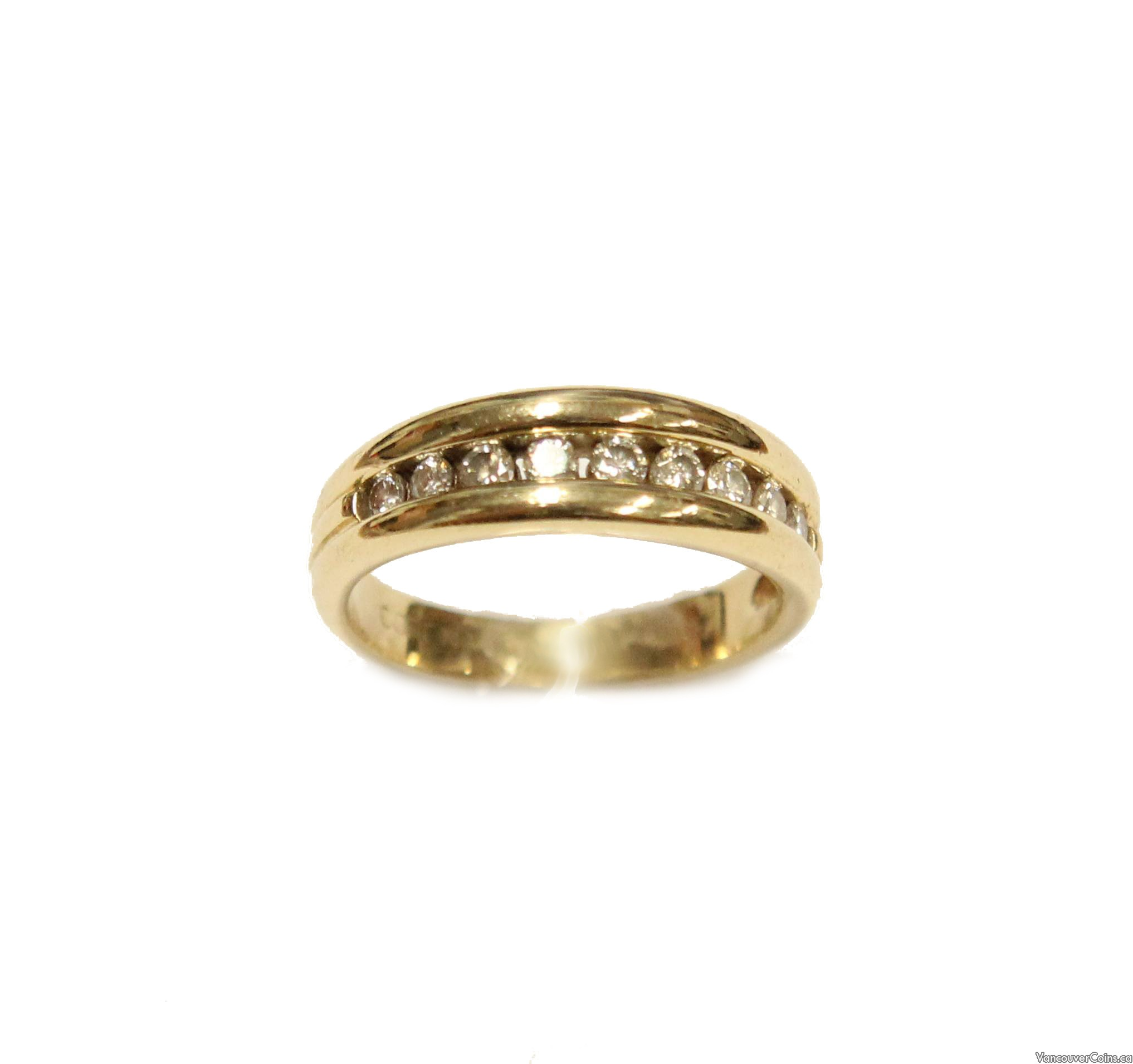 14K Yellow Gold Channel Set SI1 Diamond Ring