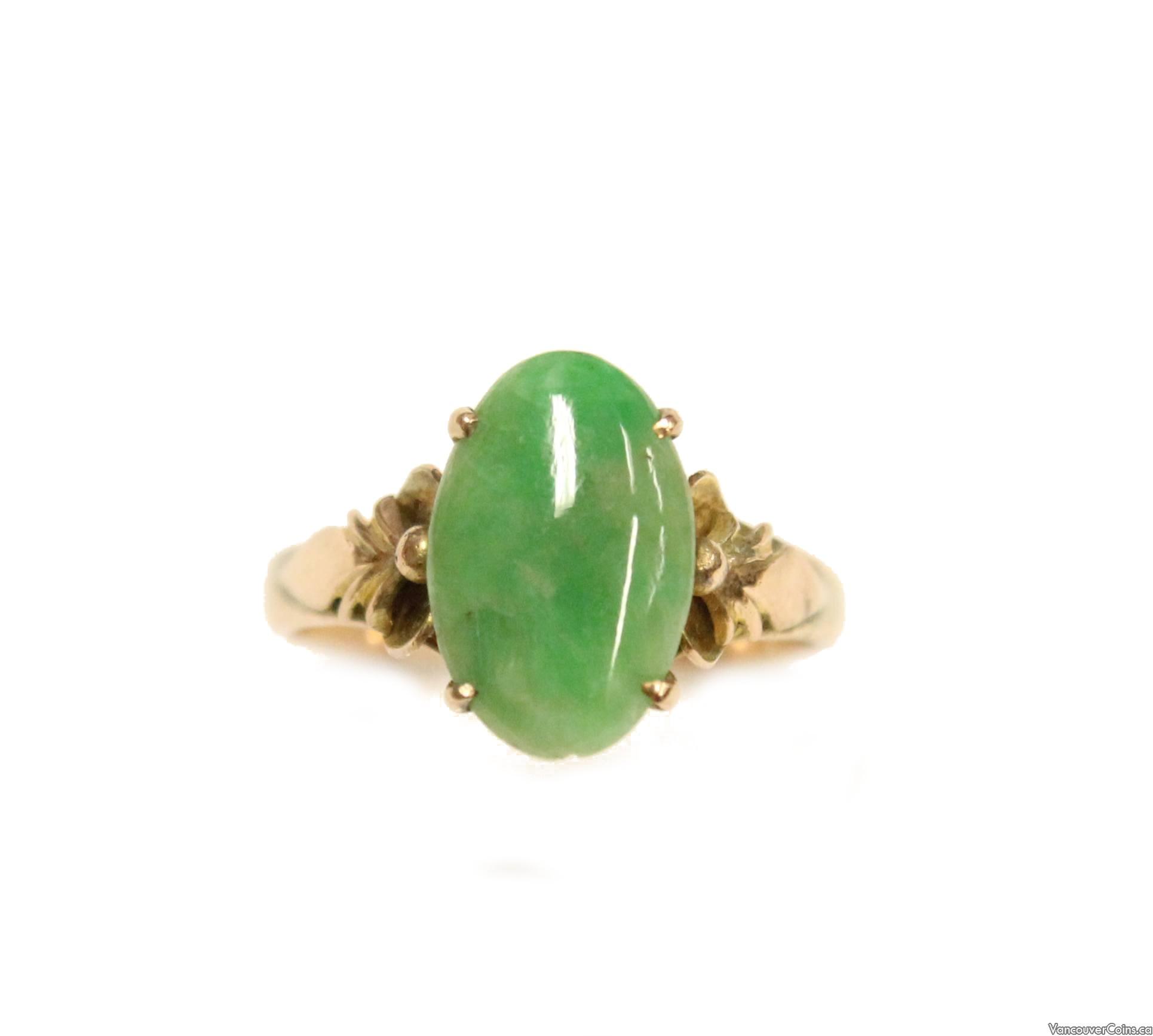 14K Yellow Gold Classic Style Green Jadeite Ring
