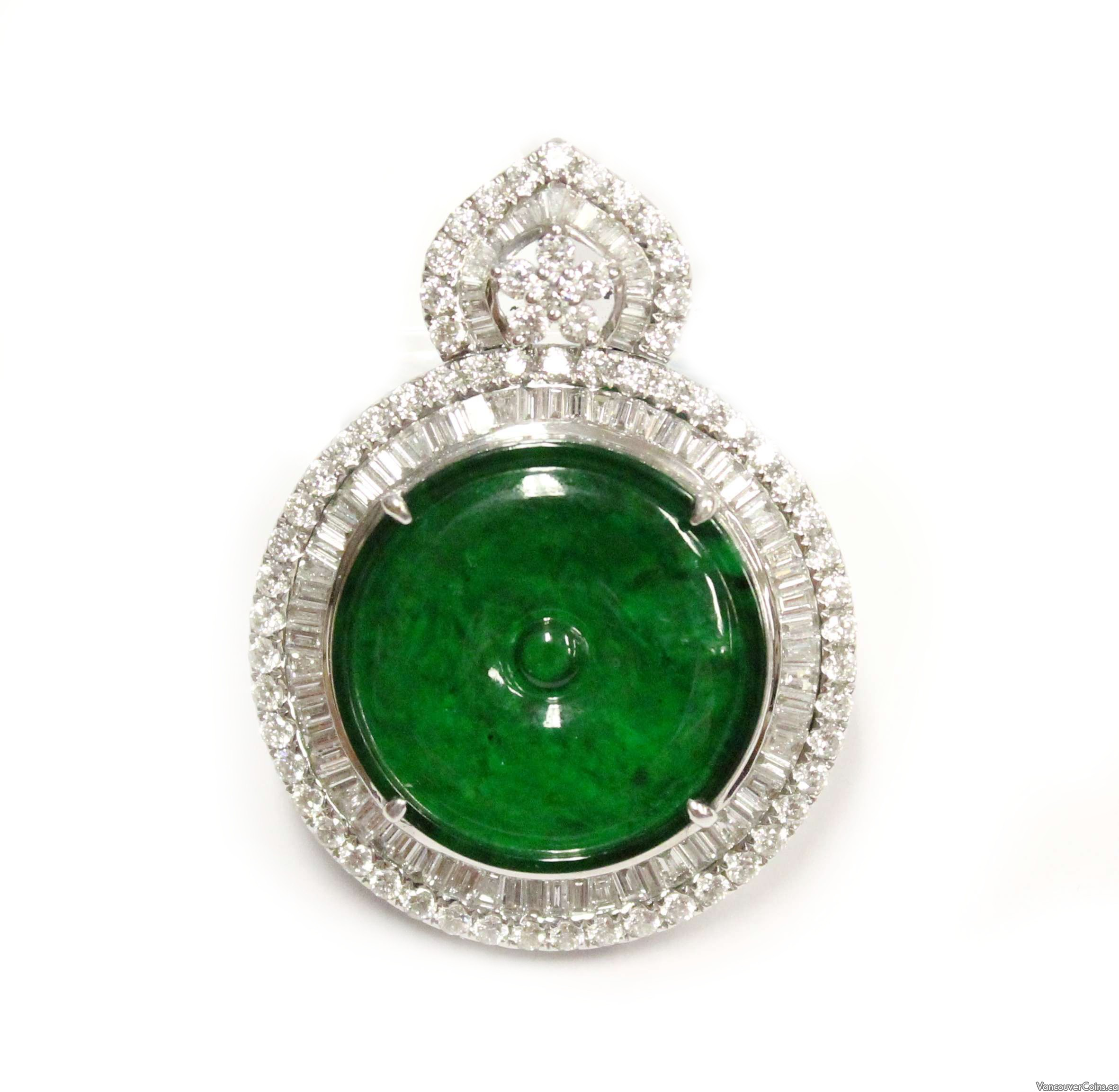 Burmese Jade & Diamond 18K White Gold Pendant