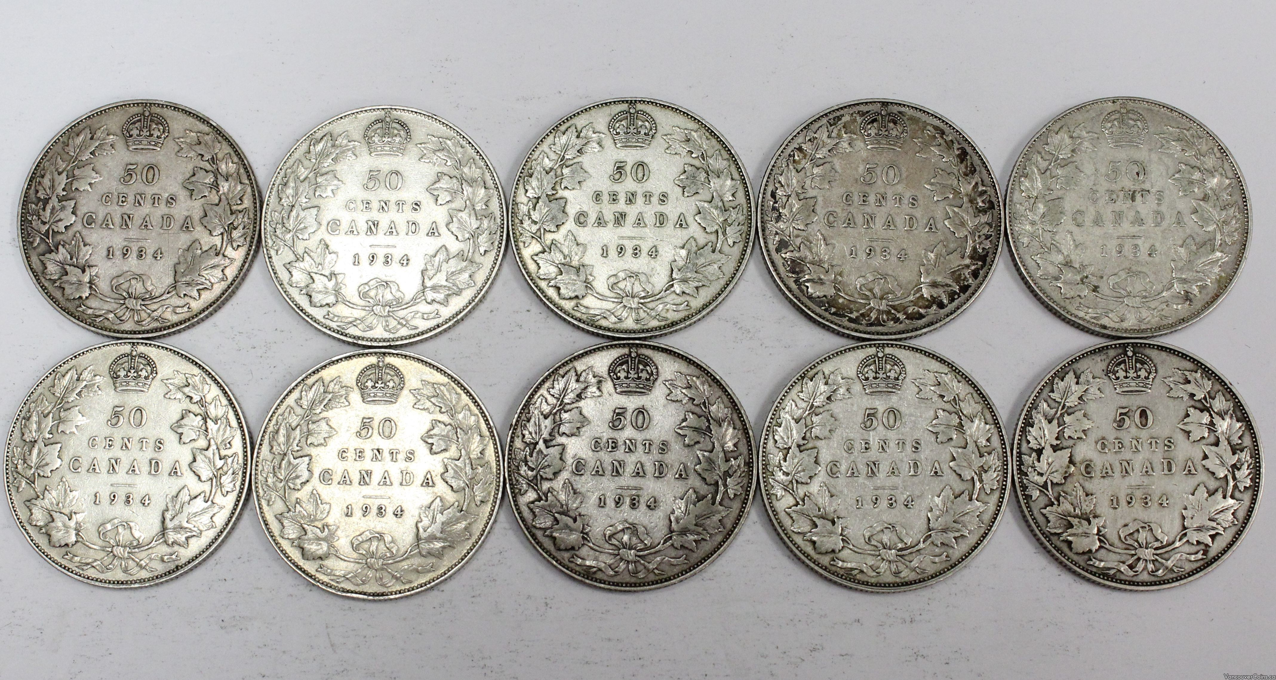 10x 1934 Canada 50 cents all ten coins nice Fine or better