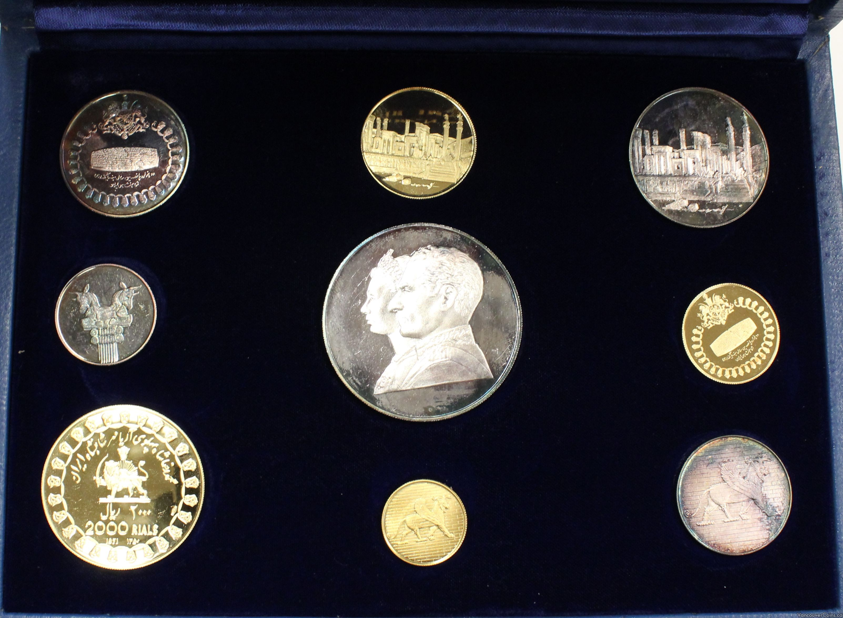 1971 Empire of Iran Gold & Silver 9-coin proof set