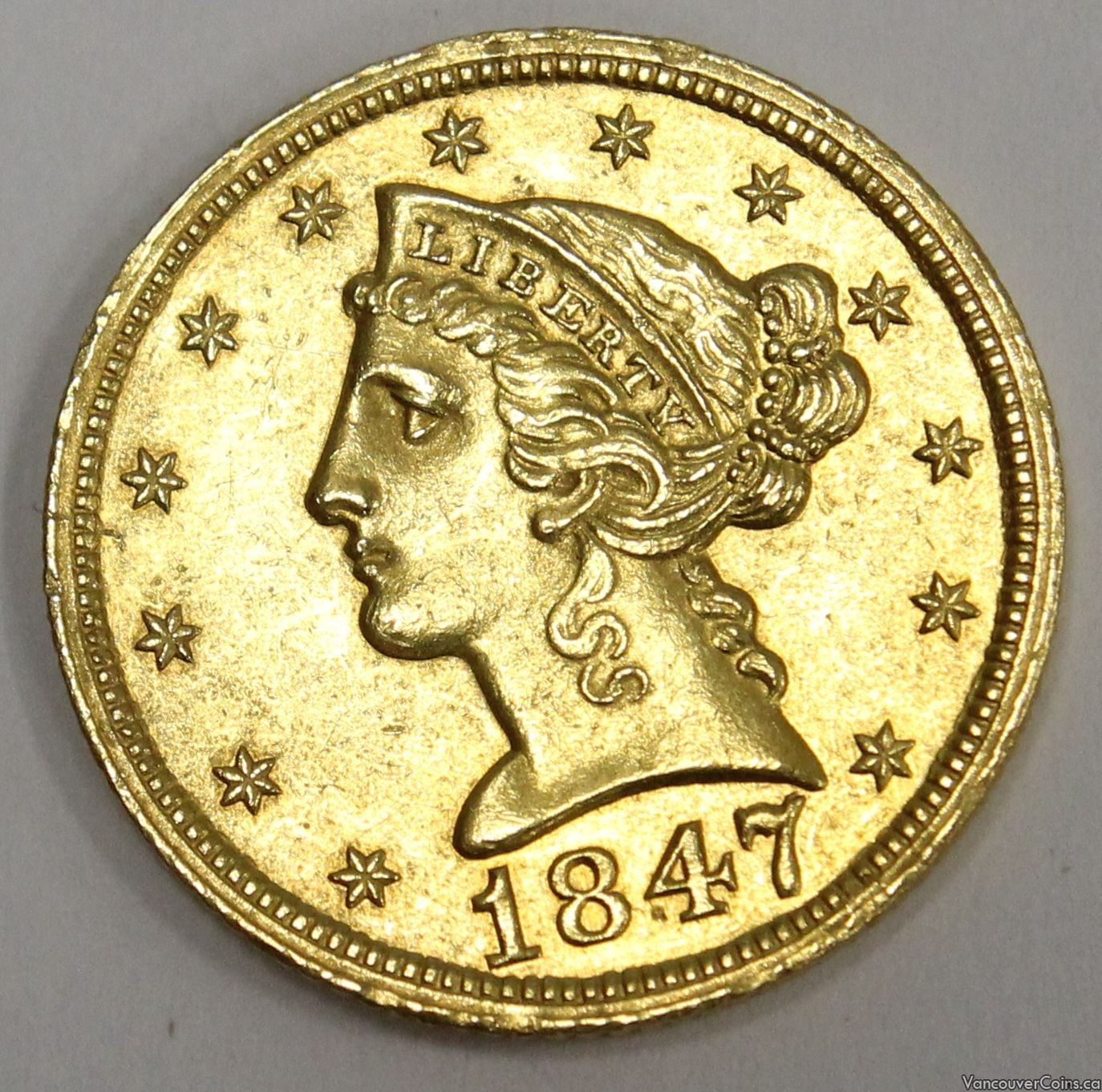 1847 $5 Liberty head gold half eagle coin AU50