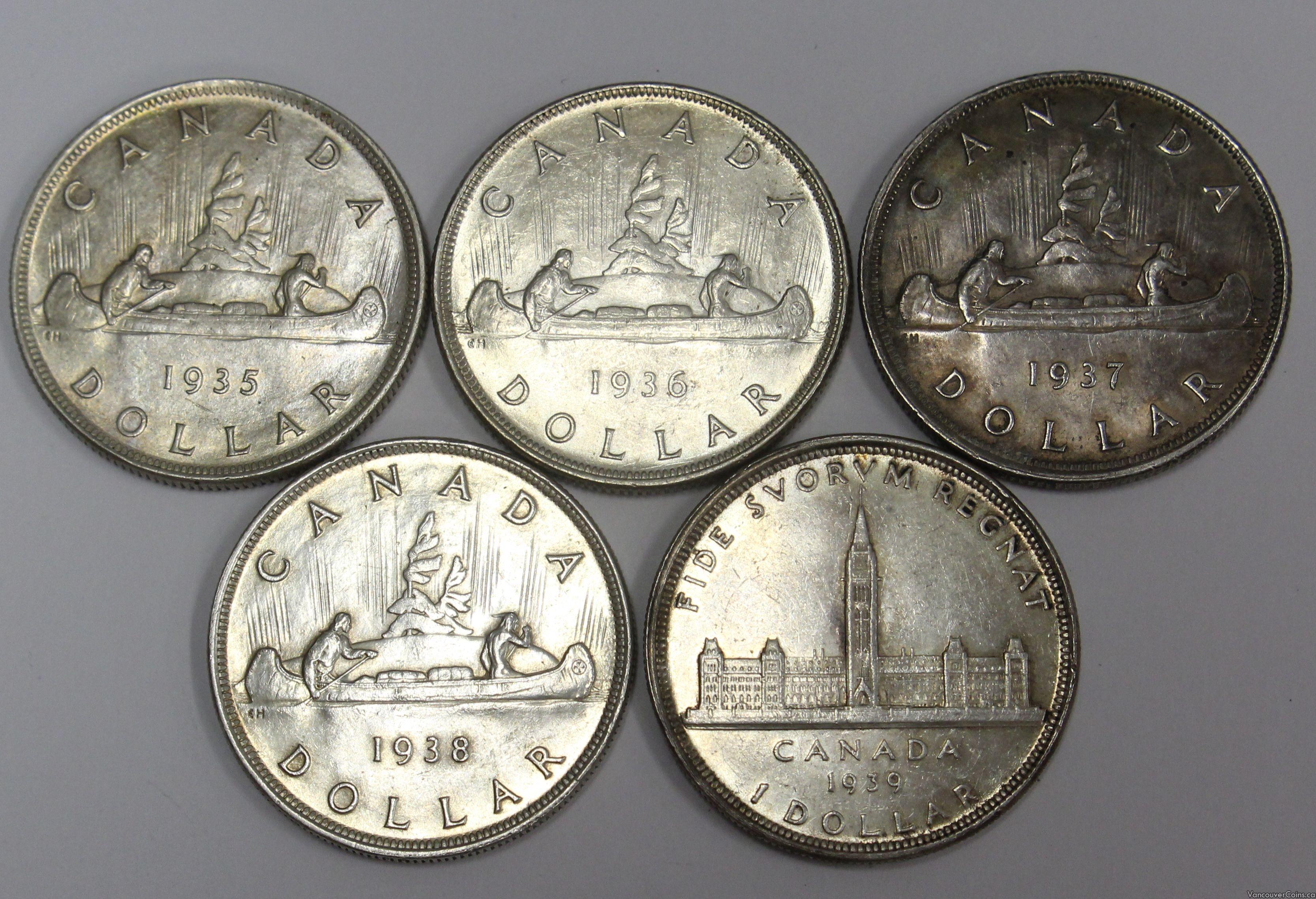1935 1936 1937 1938 1939 Canadas first 5 silver dollars