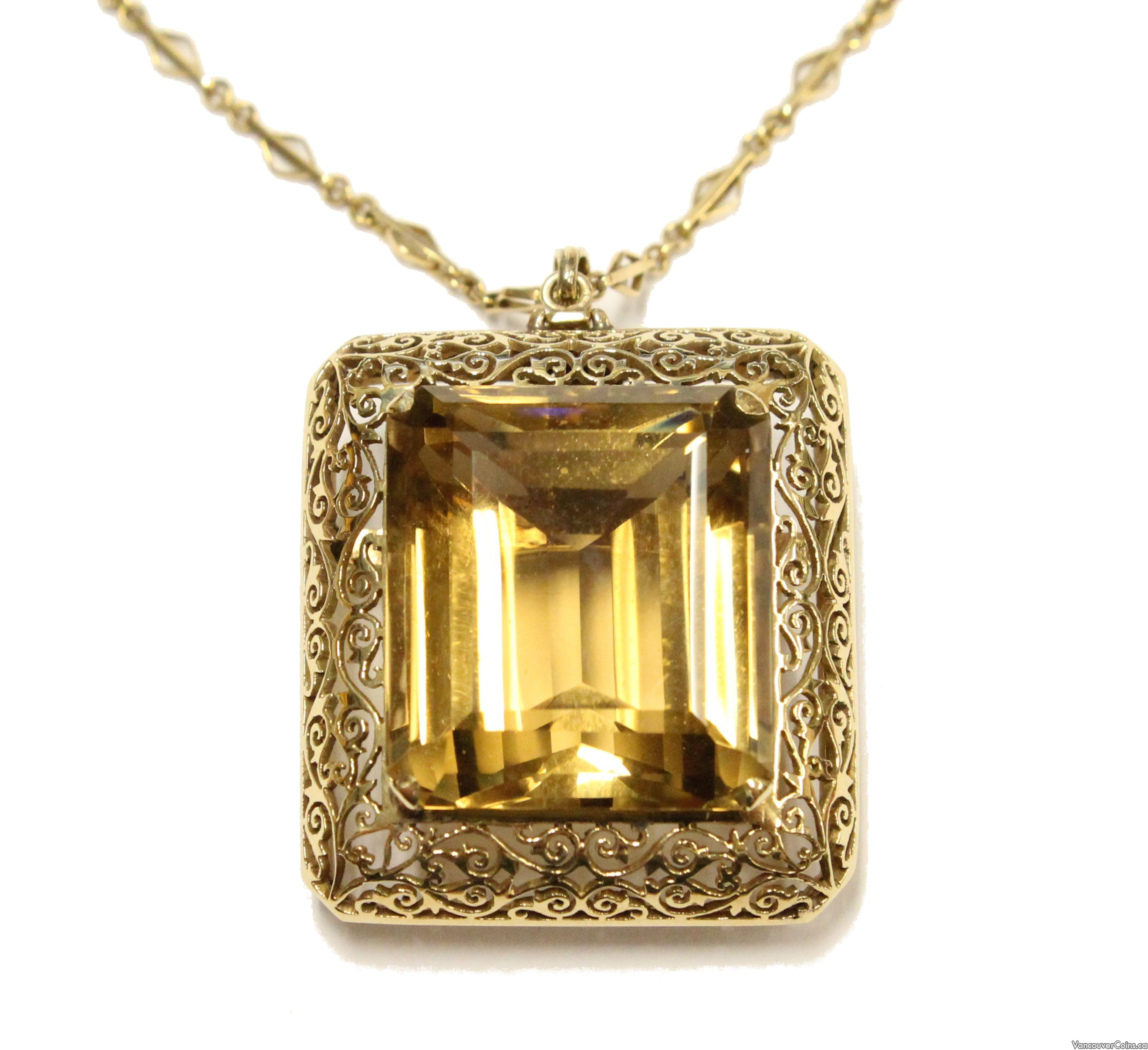 68.32 ct Citrine 14kt yg hand crafted pendant/brooch & 18kt yg chain
