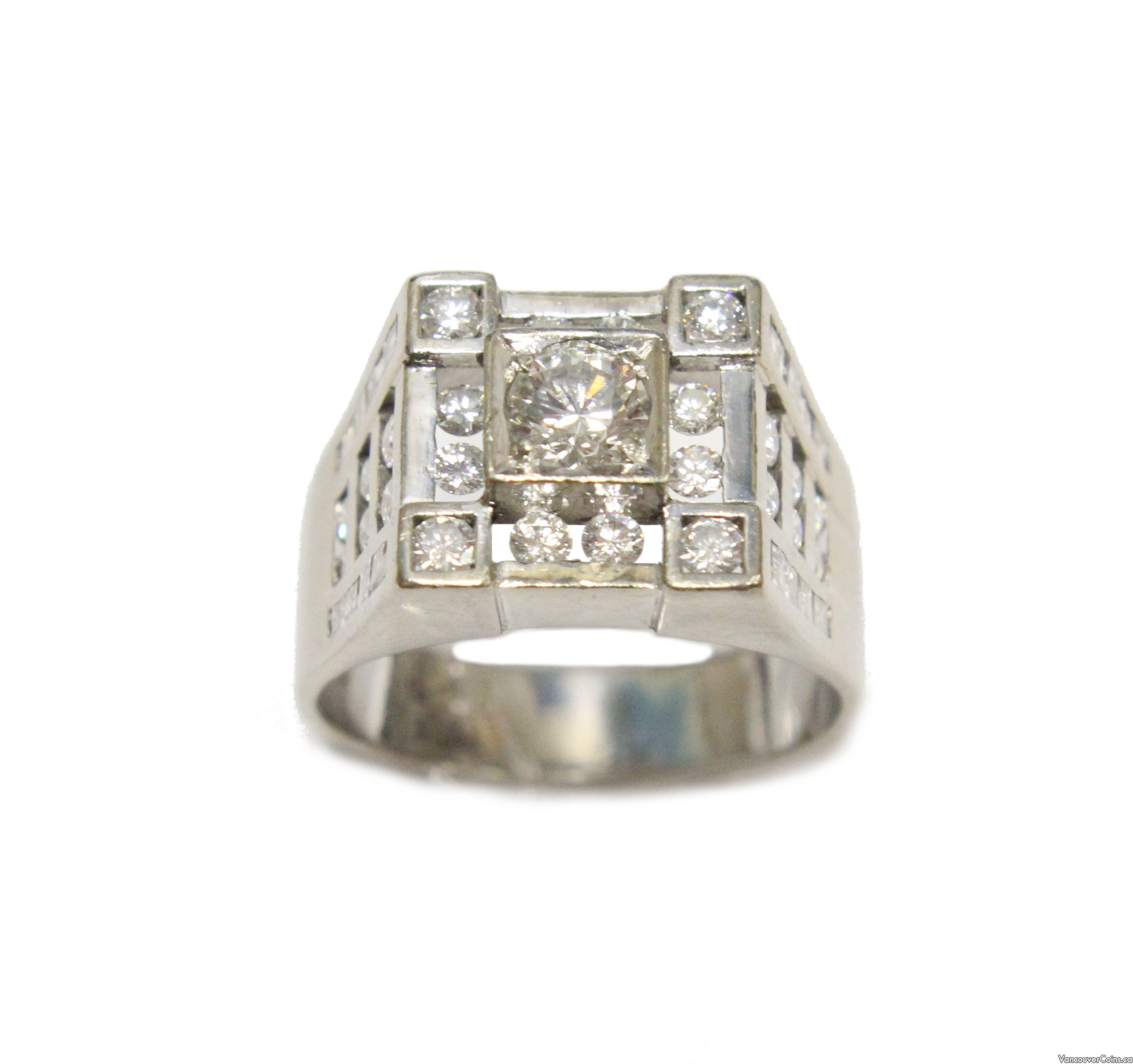 2.17 ct tcw Diamonds mens 14K white gold ring