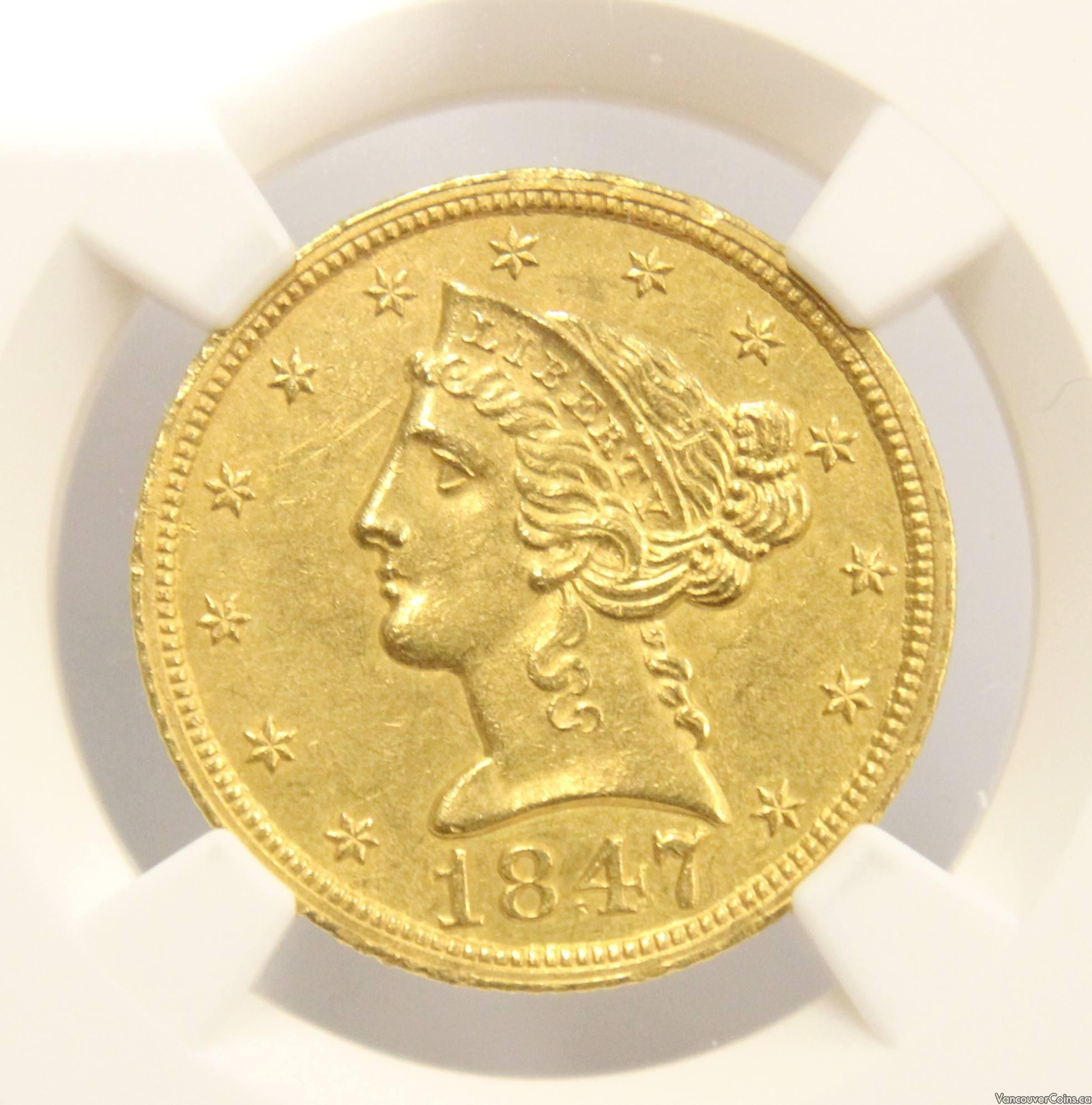 1847 Half Eagle $5 gold coin NGC UNC details