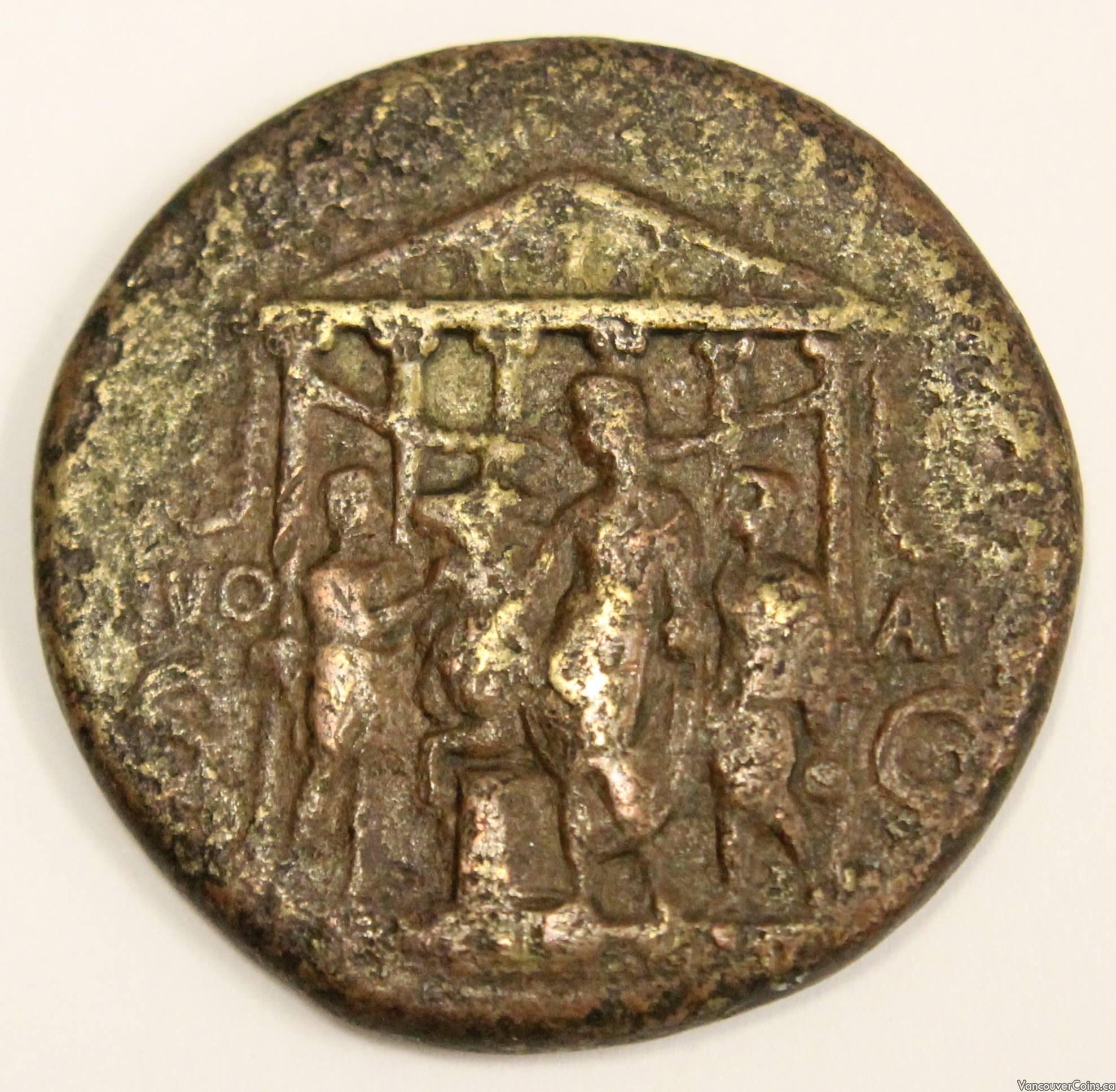 Ancient Roman Empire CALIGULA Bronze Sestertius Coin 37-41AD
