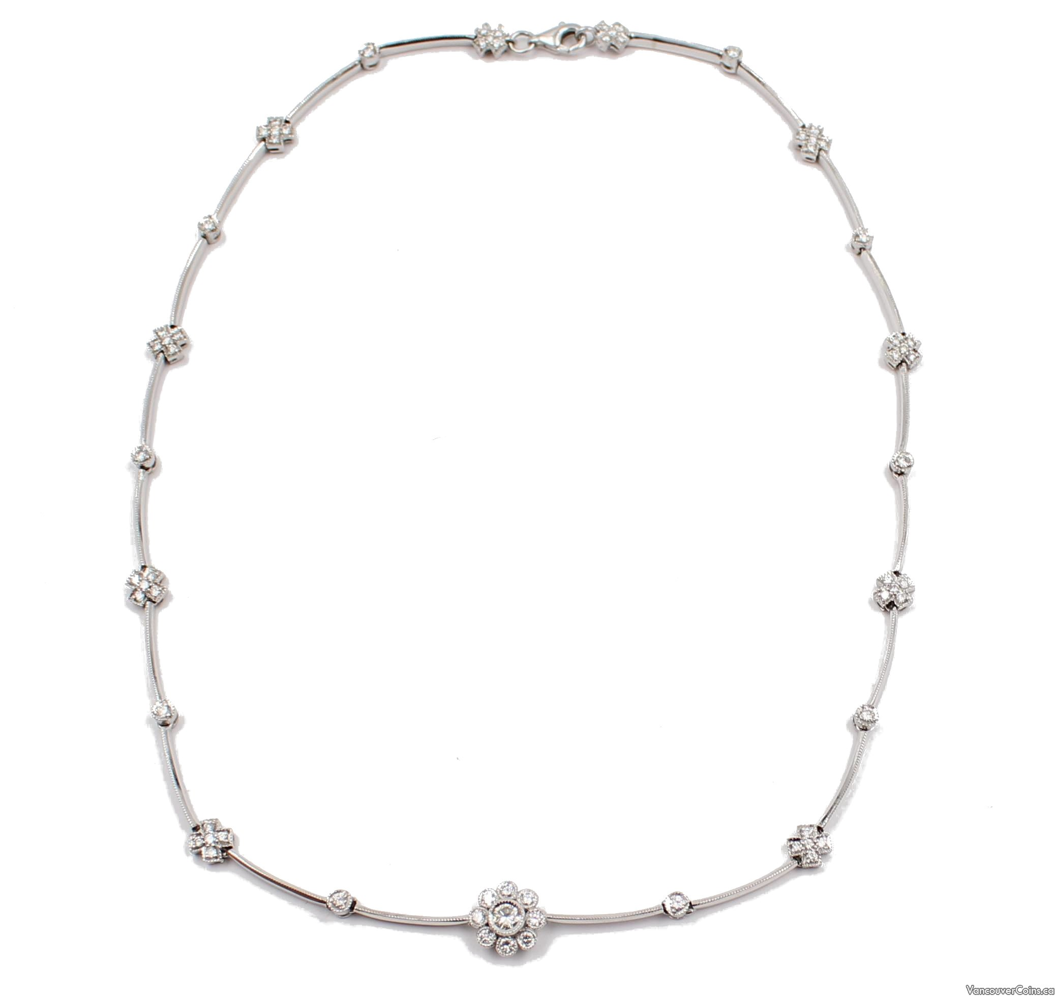 1.51ct Diamonds 18K white gold 16.5 inch Necklace