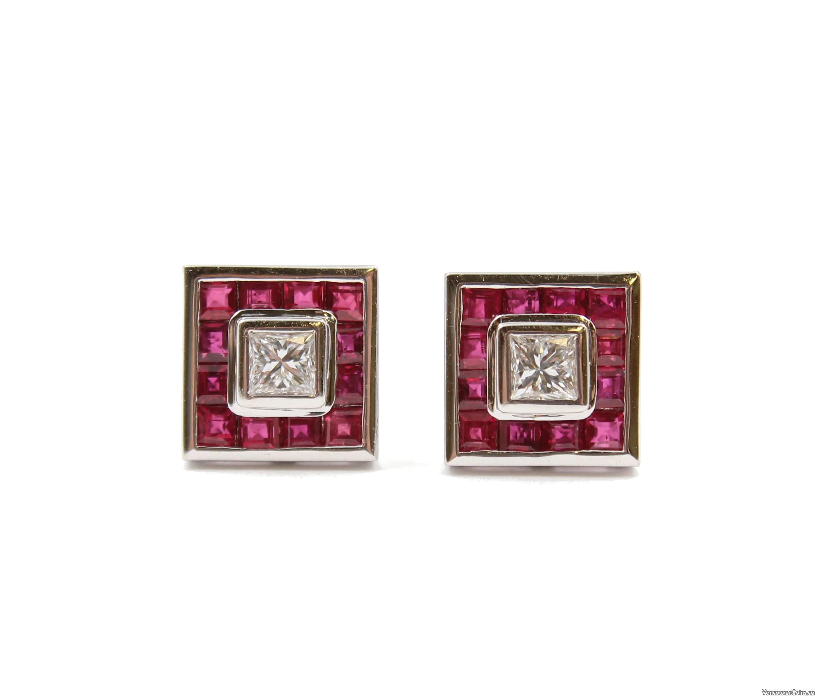 18K wg Diamonds EarringsVS1 F/G & 24x Rubies VS lively red
