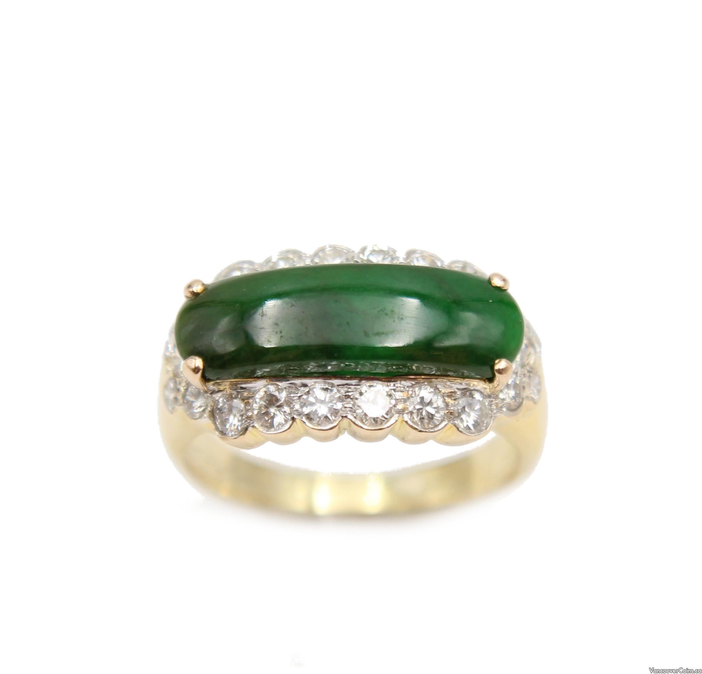 Burmese Jade & Diamonds 14K yellow gold ring