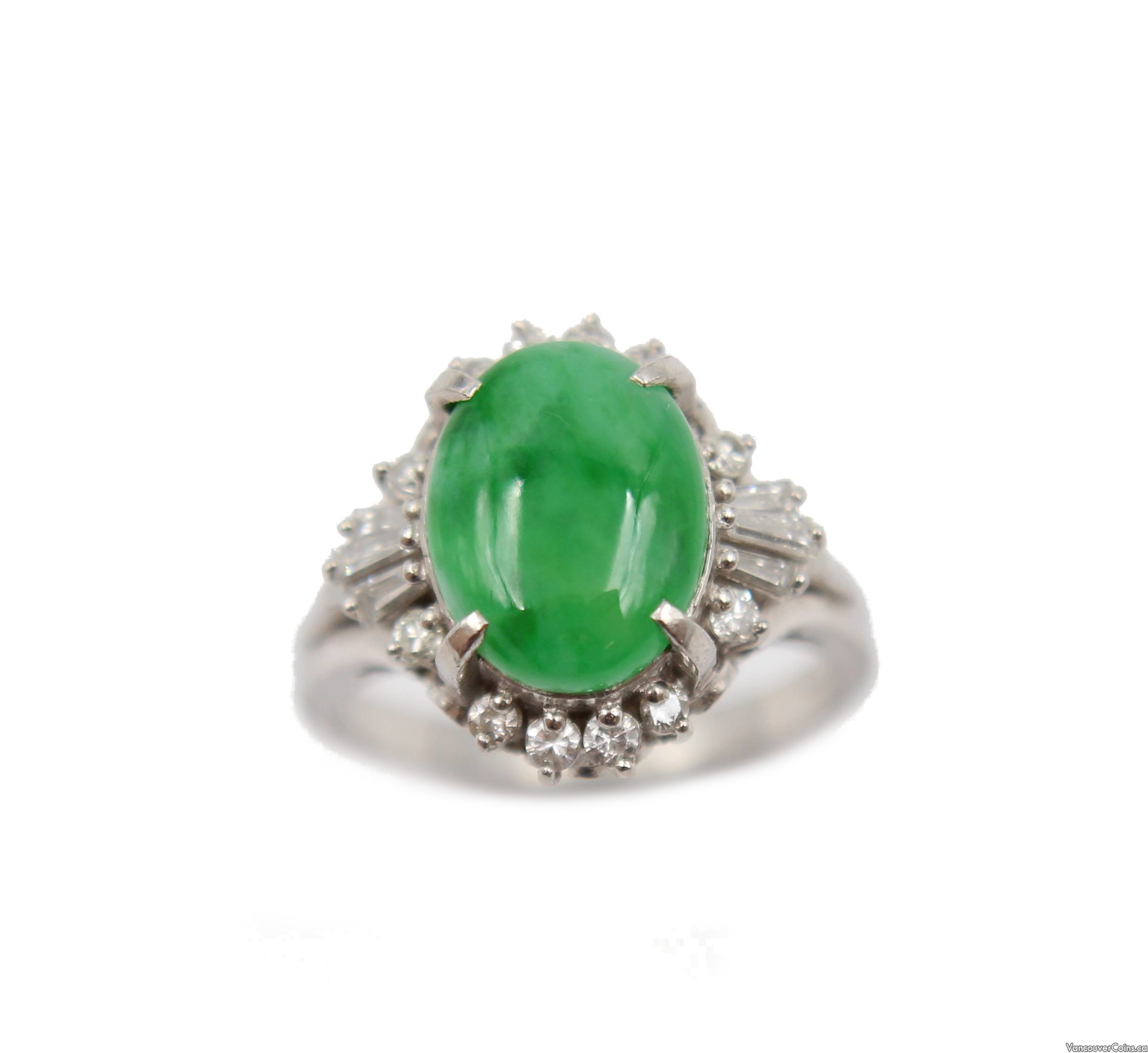 Burmese Jade and Diamonds Platinum ring