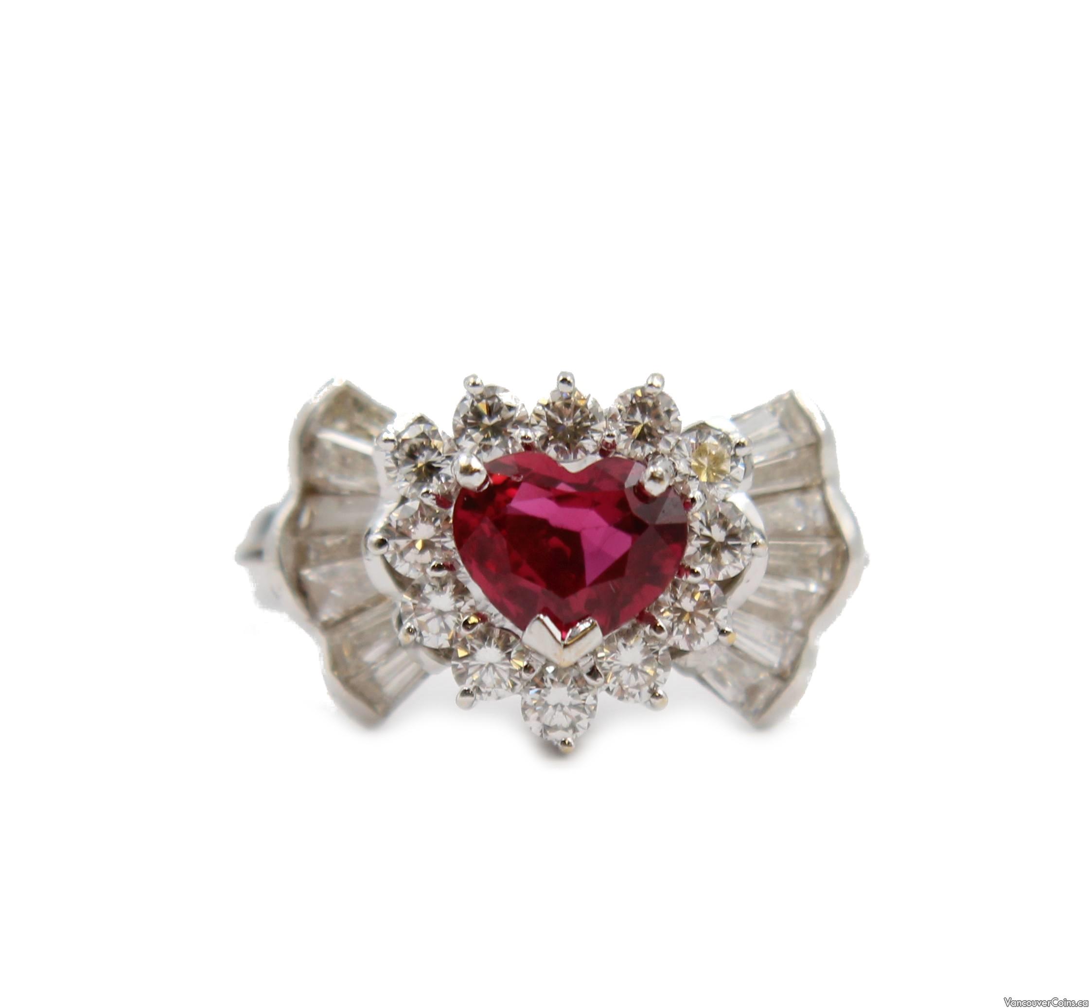 1.02ct Heart Ruby 18K gold ring & 1-carat Diamonds