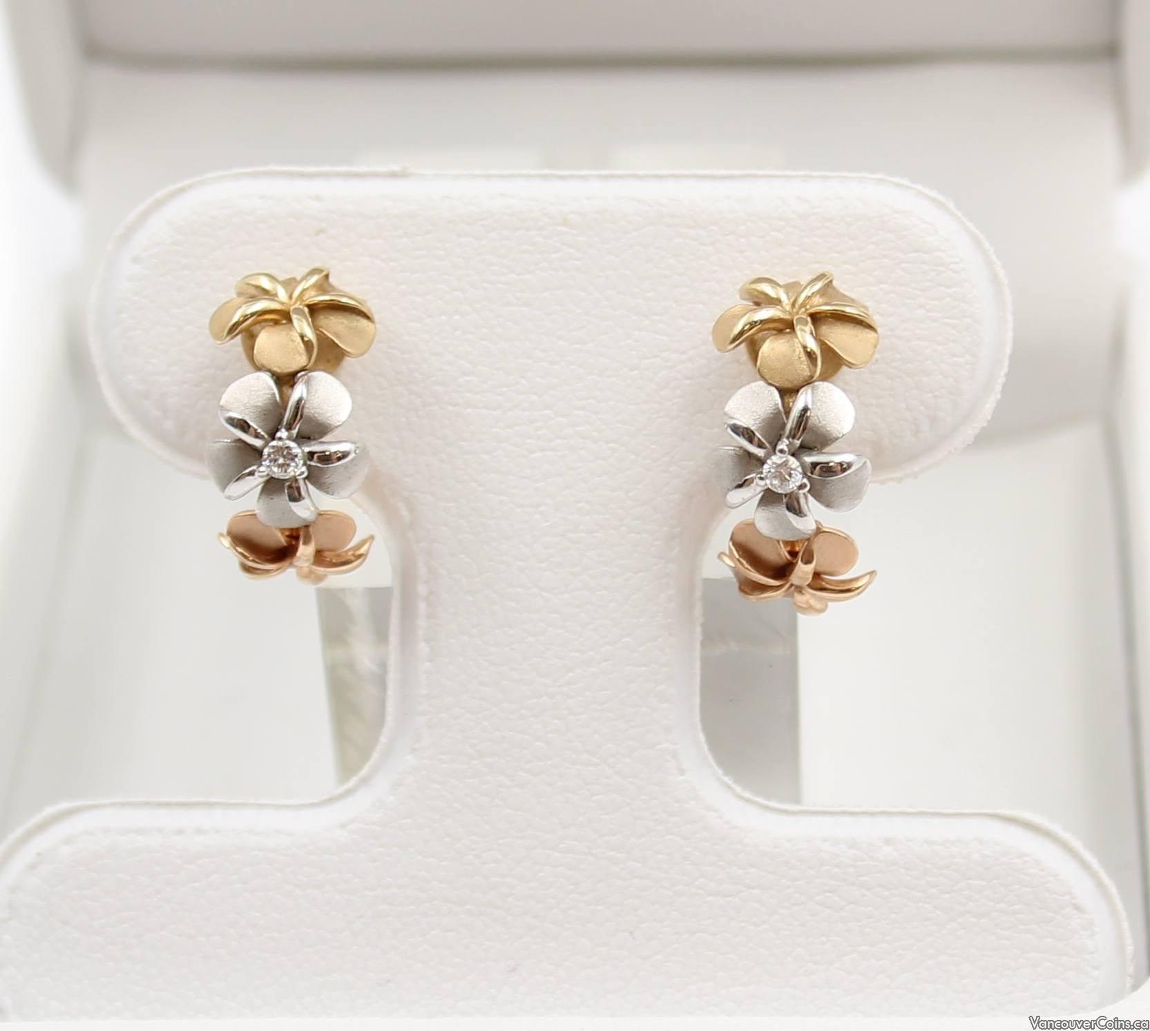 14K Gold NA HOKU Tri-Color Plumeria Half Hoop Diamond Earrings