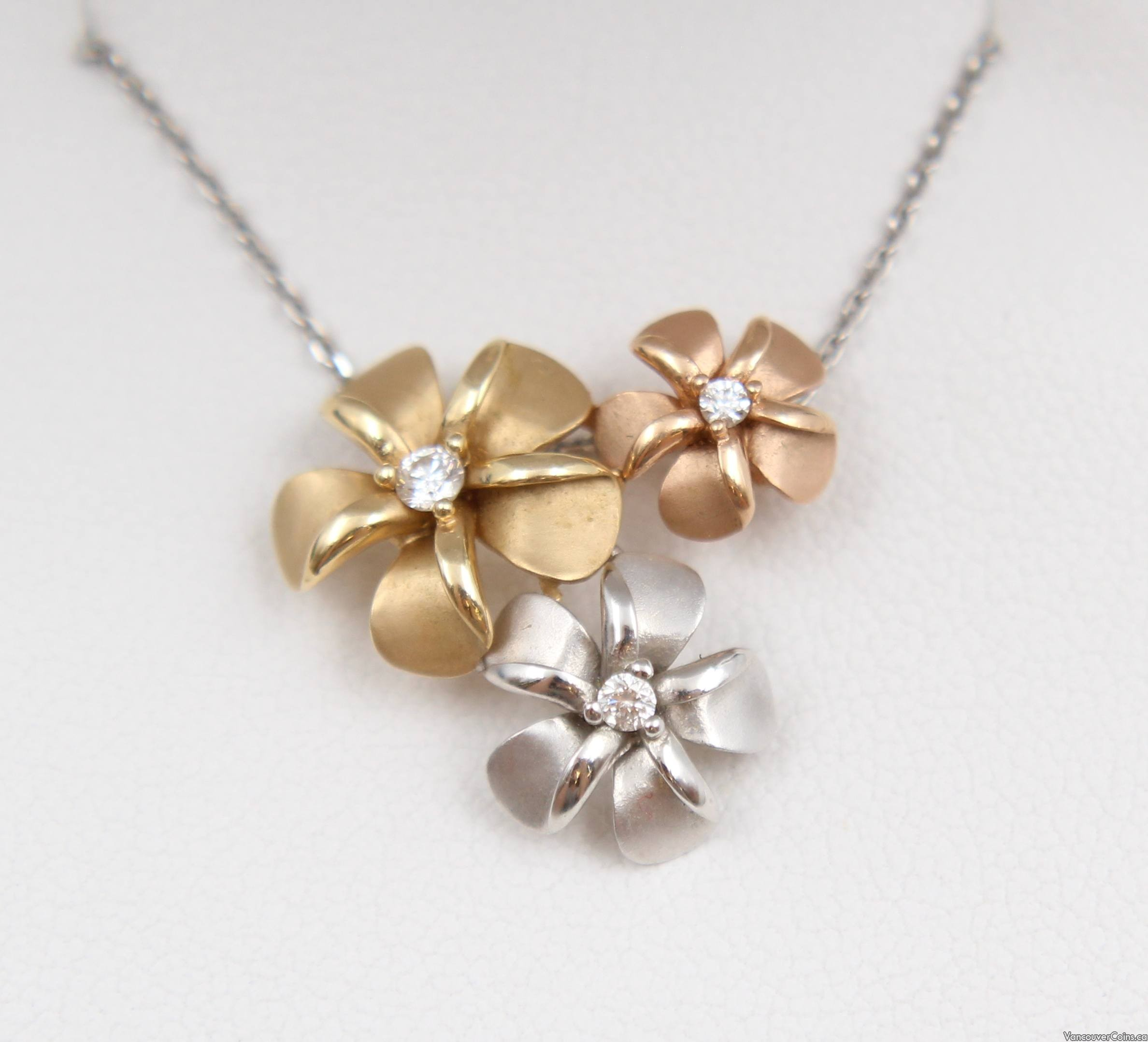 14K Gold NA HOKU Tri-Color Plumeria Bouquet Pendant Diamond Necklace