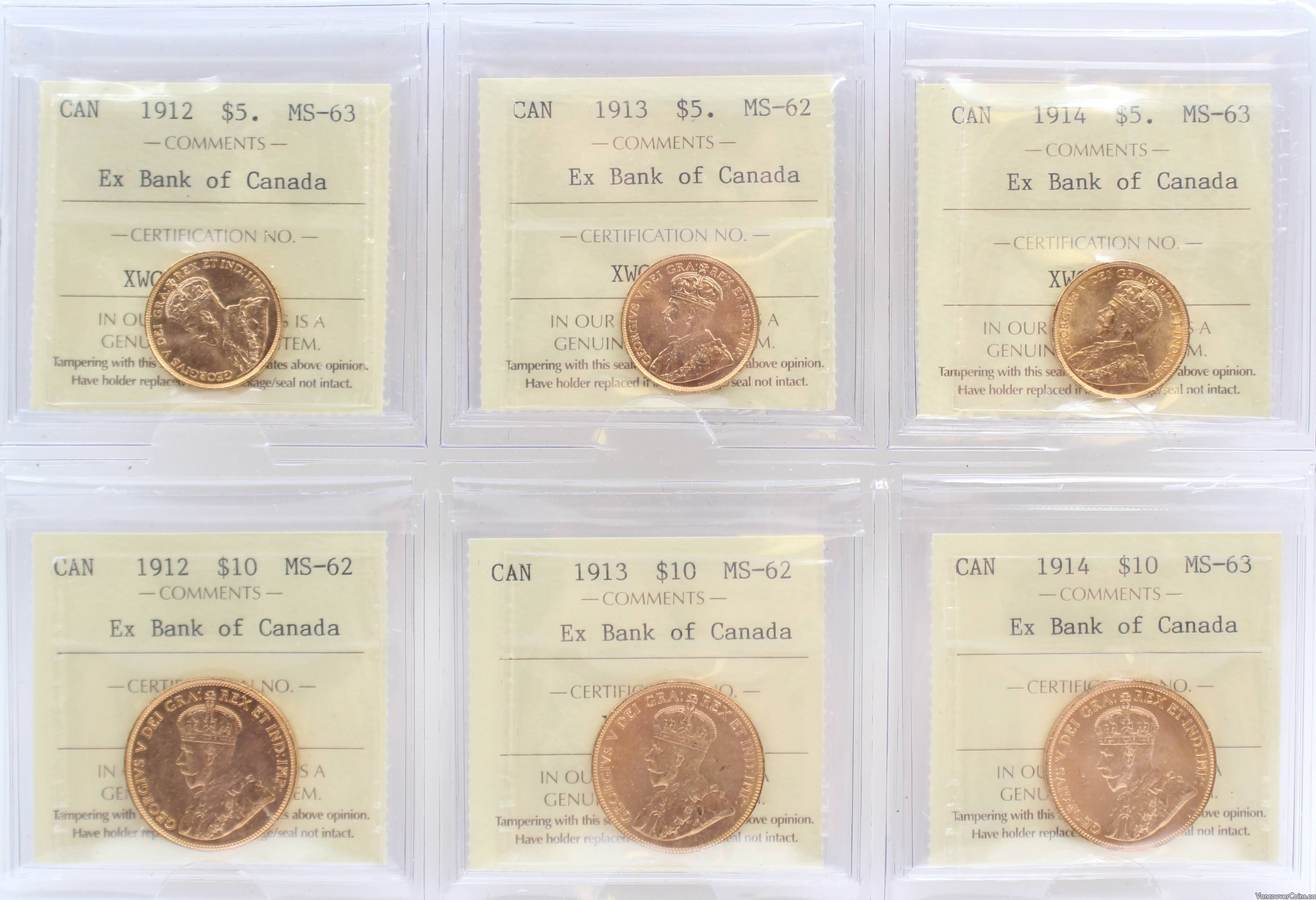 1912 1913 1914 Canada $5 & $10 Gold complete 6-coin set