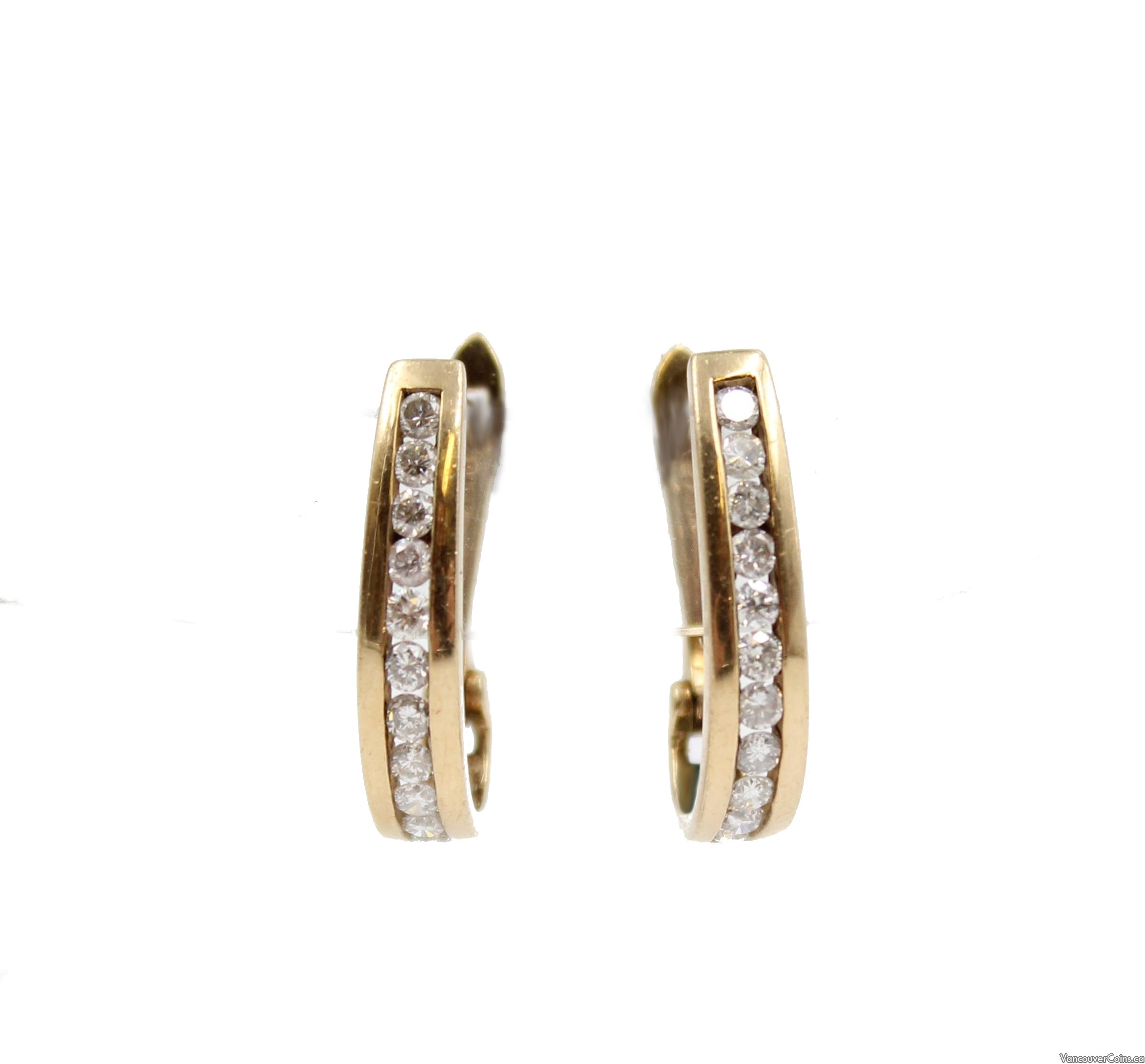 10 Karat Yellow Gold Ladies Diamond Leverback Earrings