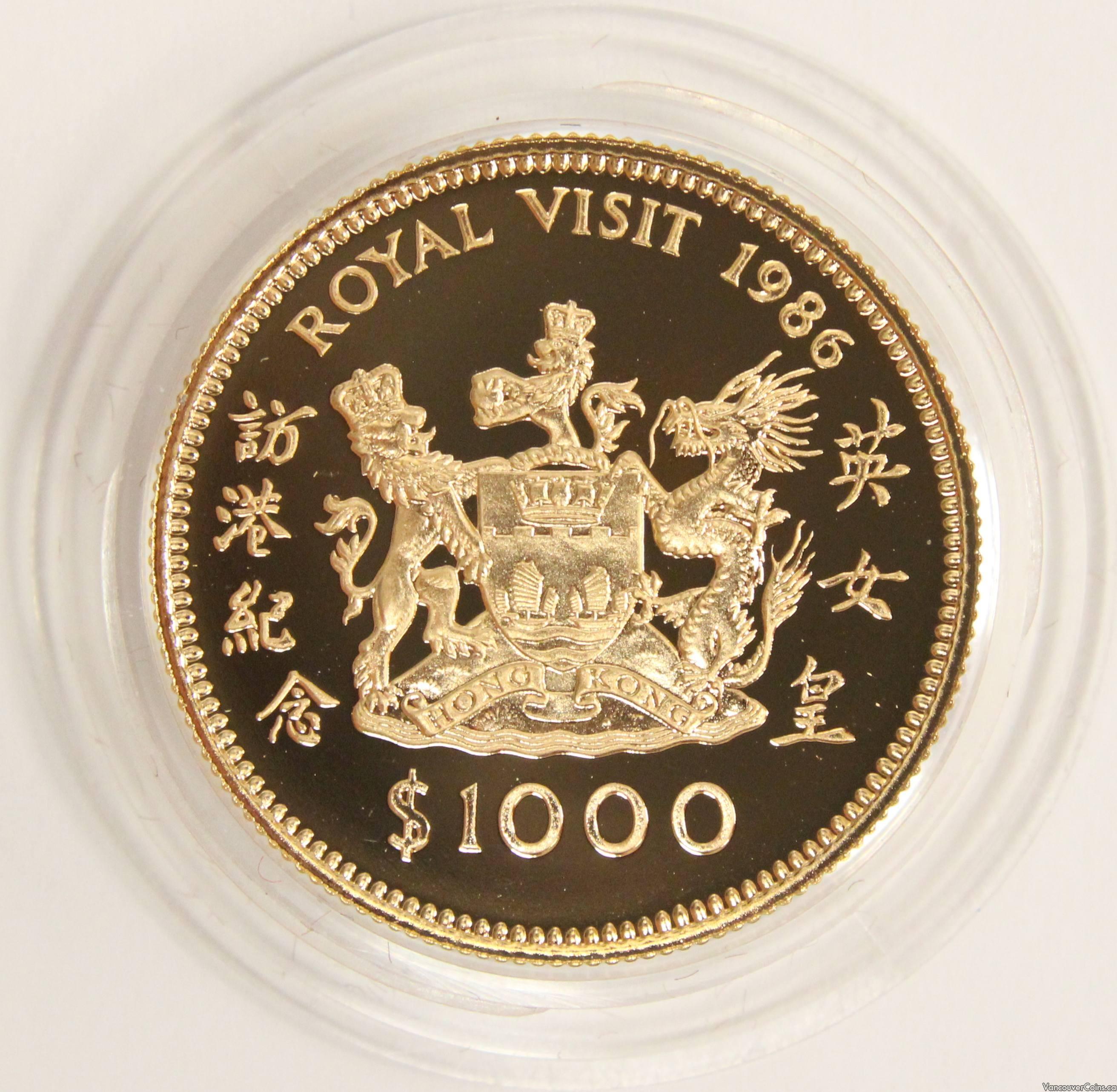 $1000 Hong Kong Gold coin 1986 Year of the ROYAL VISIT Gem Cameo Proof