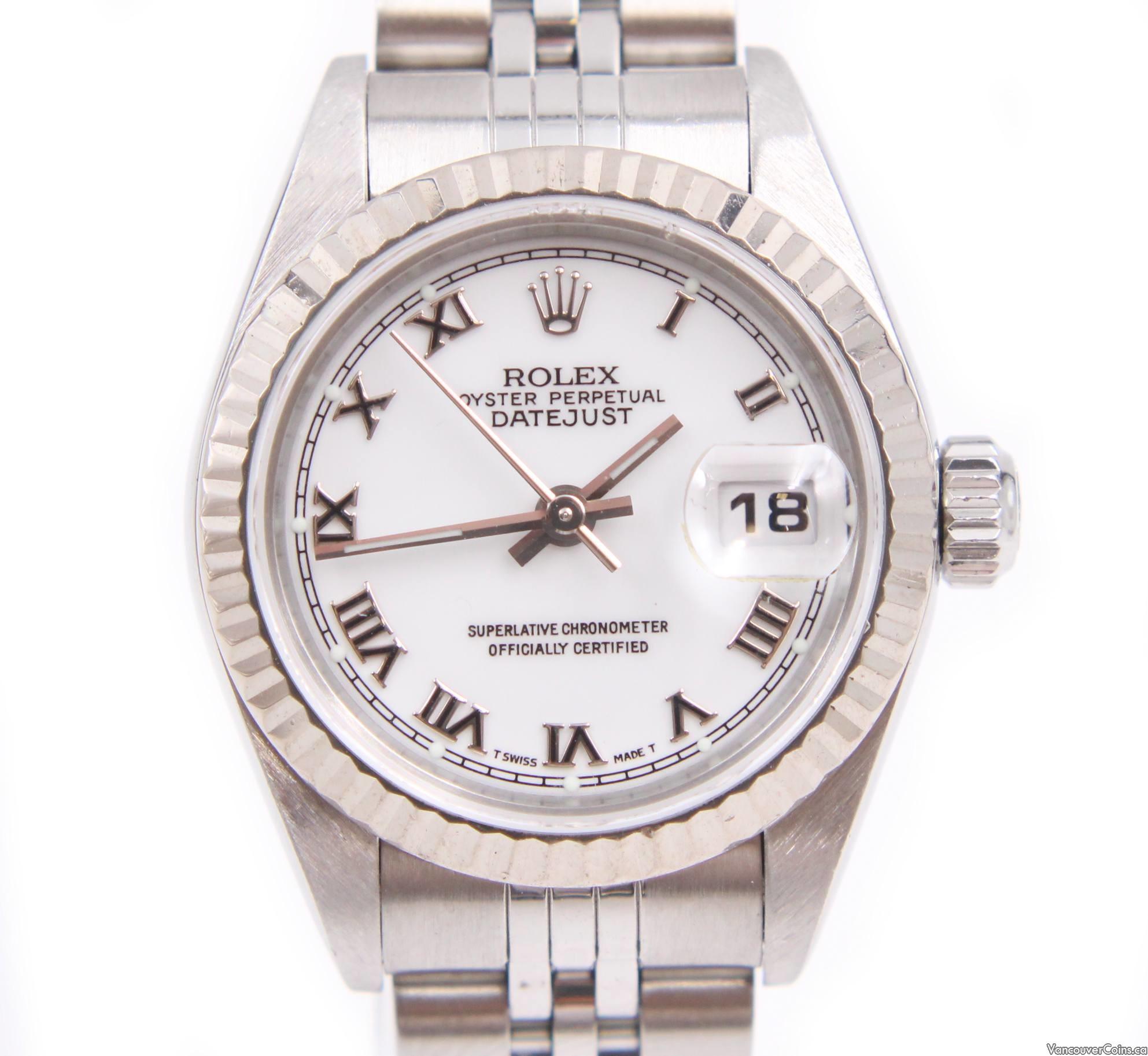 Rolex Datejust 26mm Stainless/White Gold Ladies Jubilee Bracelet Watch 79174